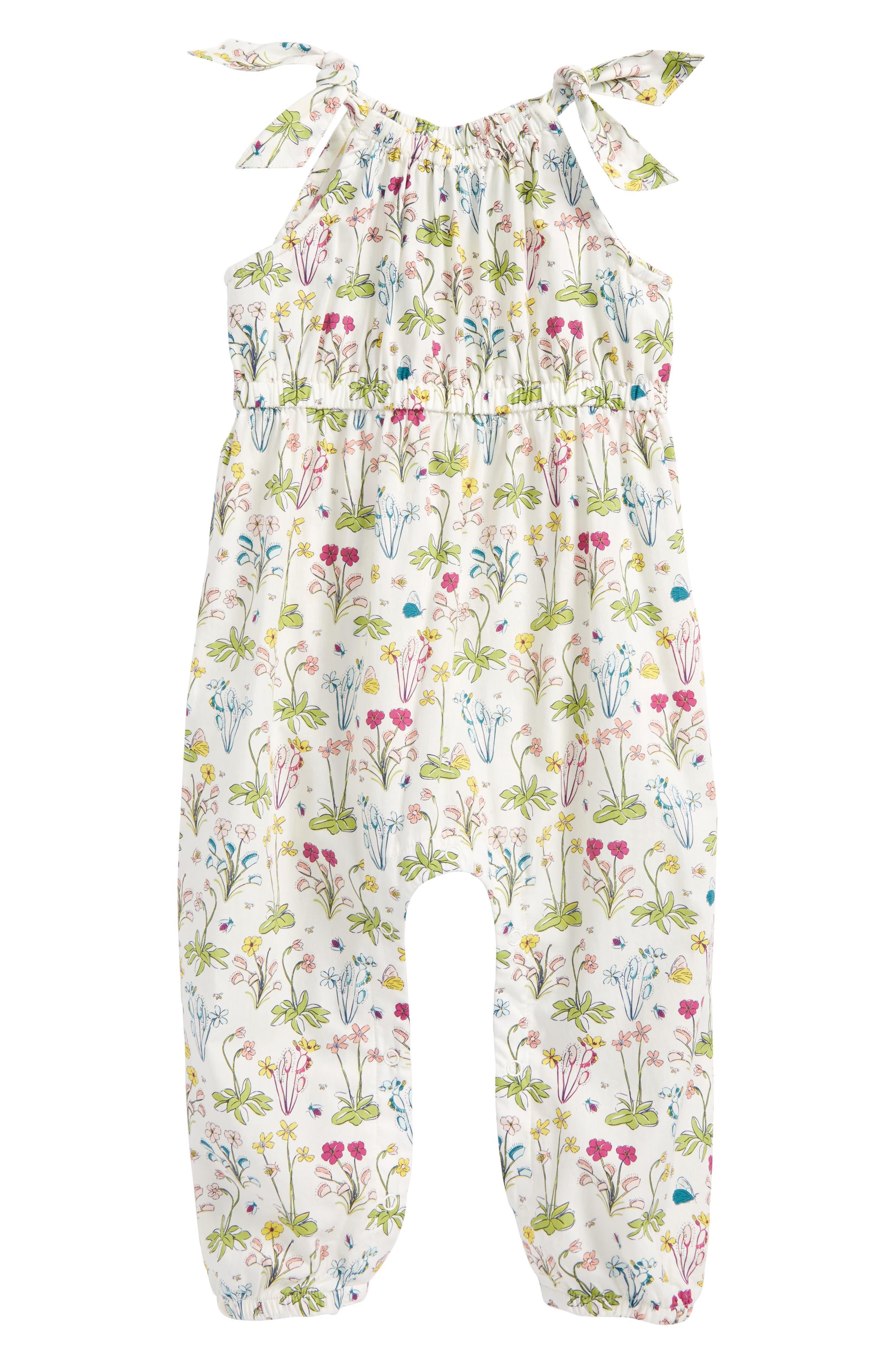 Main Image - Tea Collection Shoulder Tie Romper (Baby Girls)