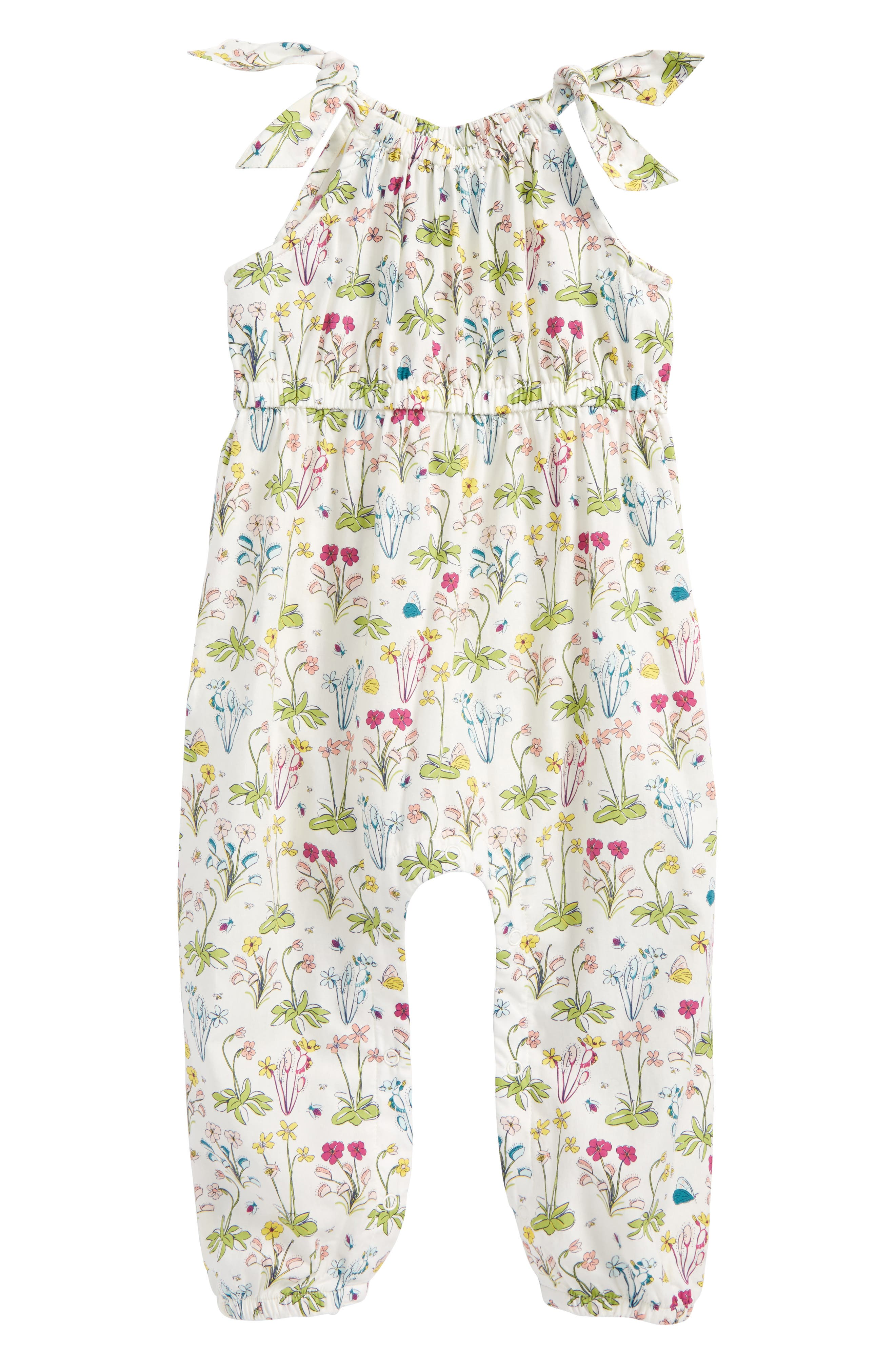 Tea Collection Shoulder Tie Romper (Baby Girls)