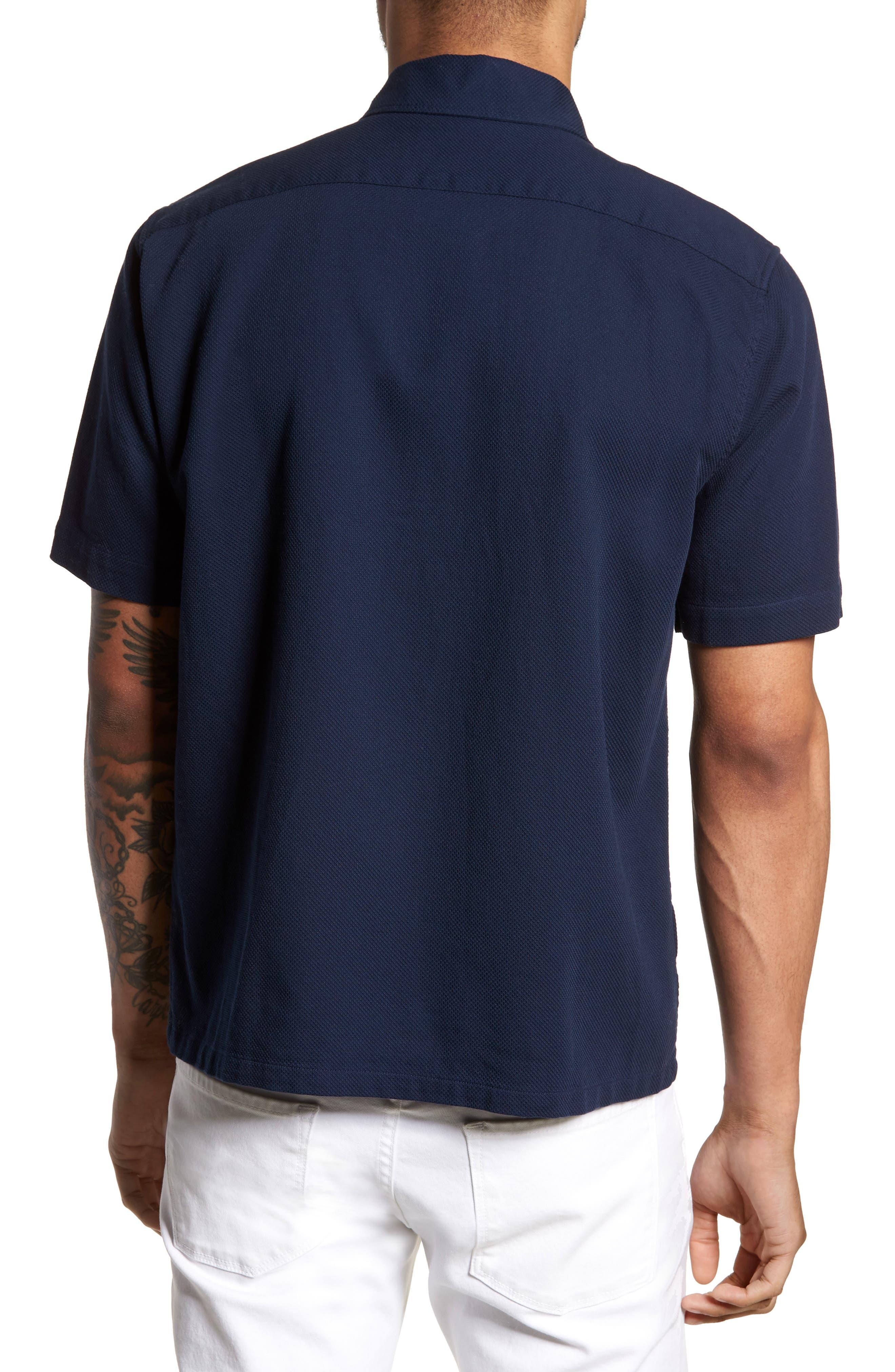 Woven Piqué Shirt,                             Alternate thumbnail 3, color,                             Carbon Blue