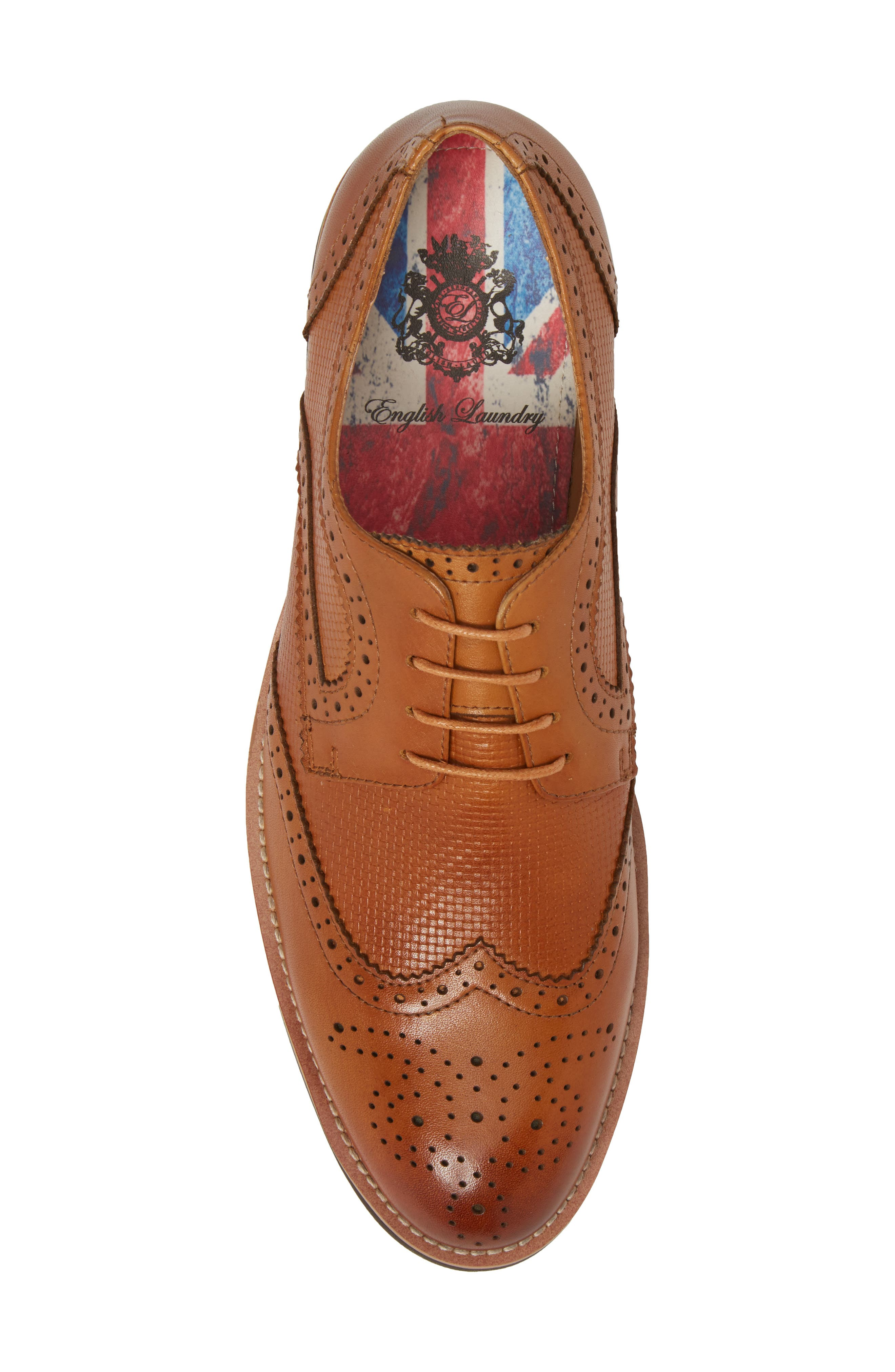 Cleave Embossed Wingtip,                             Alternate thumbnail 5, color,                             Cognac Leather