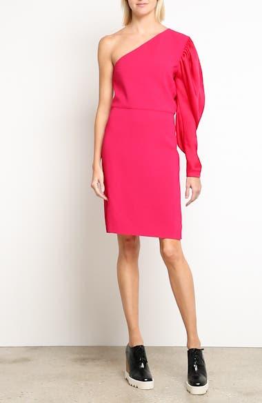 One-Shoulder Puff Sleeve Cady Dress,                             Alternate thumbnail 8, color,                             Bubble Gum