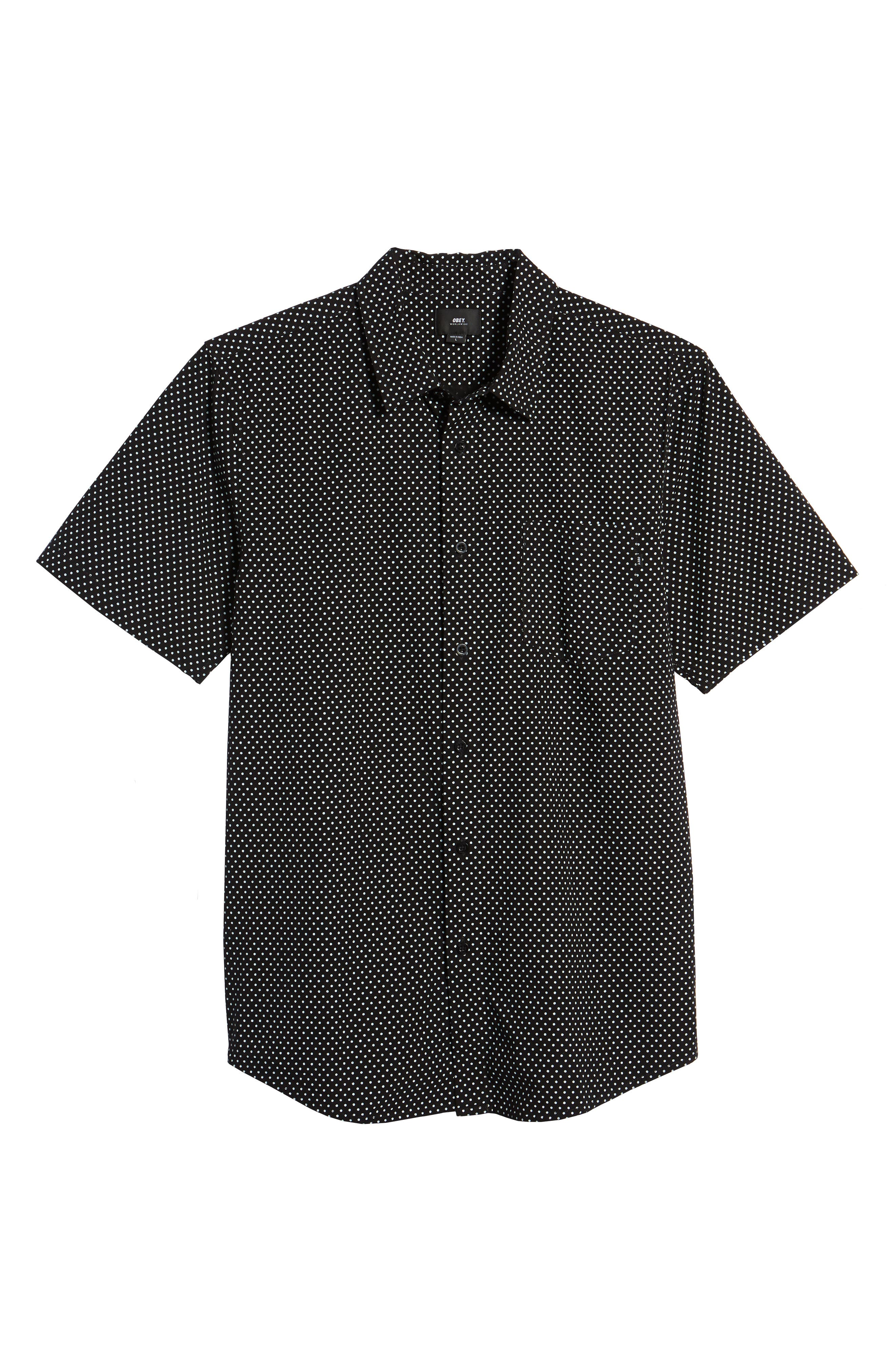 Brozwell Short Sleeve Shirt,                             Alternate thumbnail 6, color,                             Black Multi