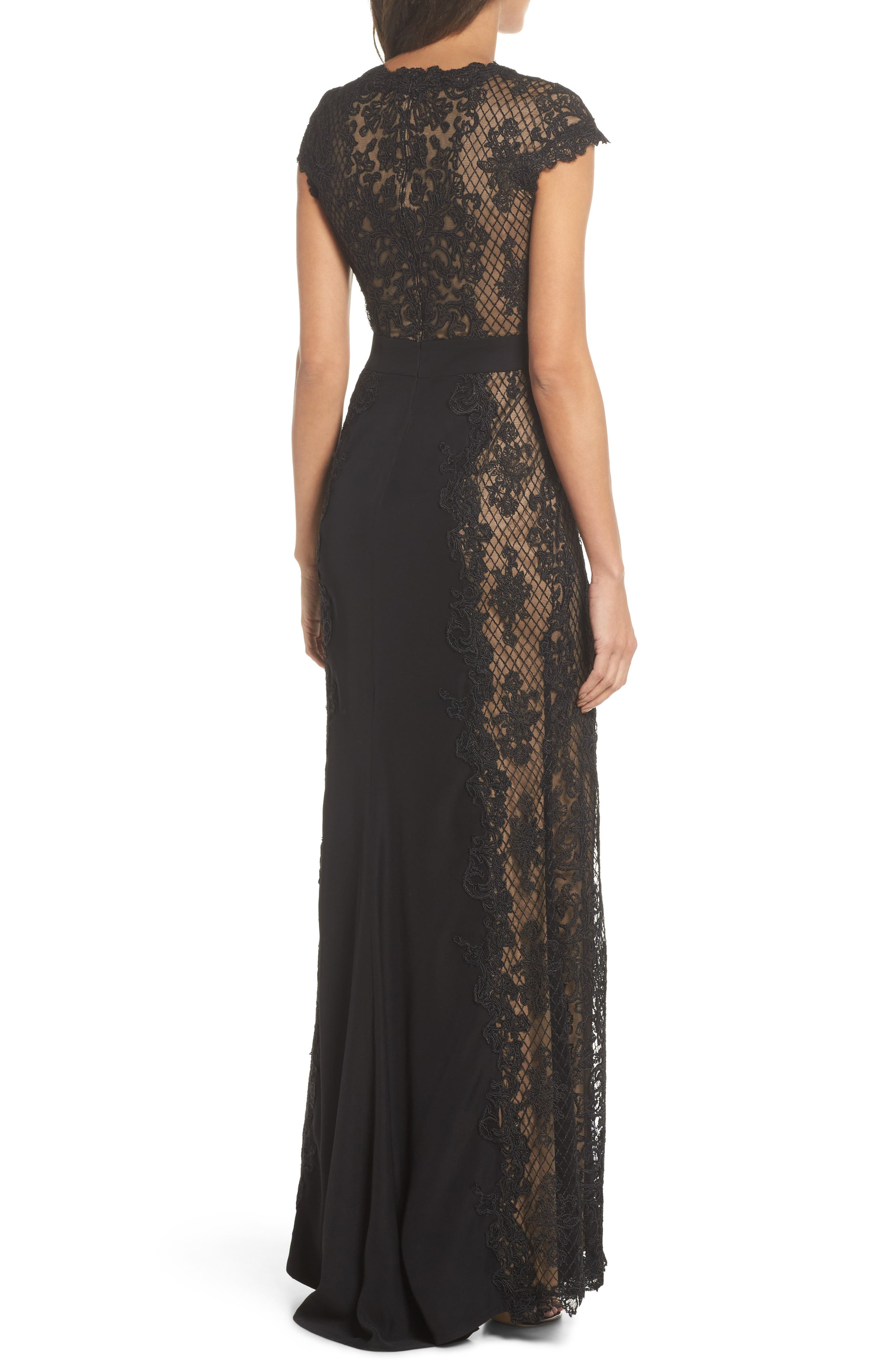 Lace Gown,                             Alternate thumbnail 2, color,                             Black/ Nude