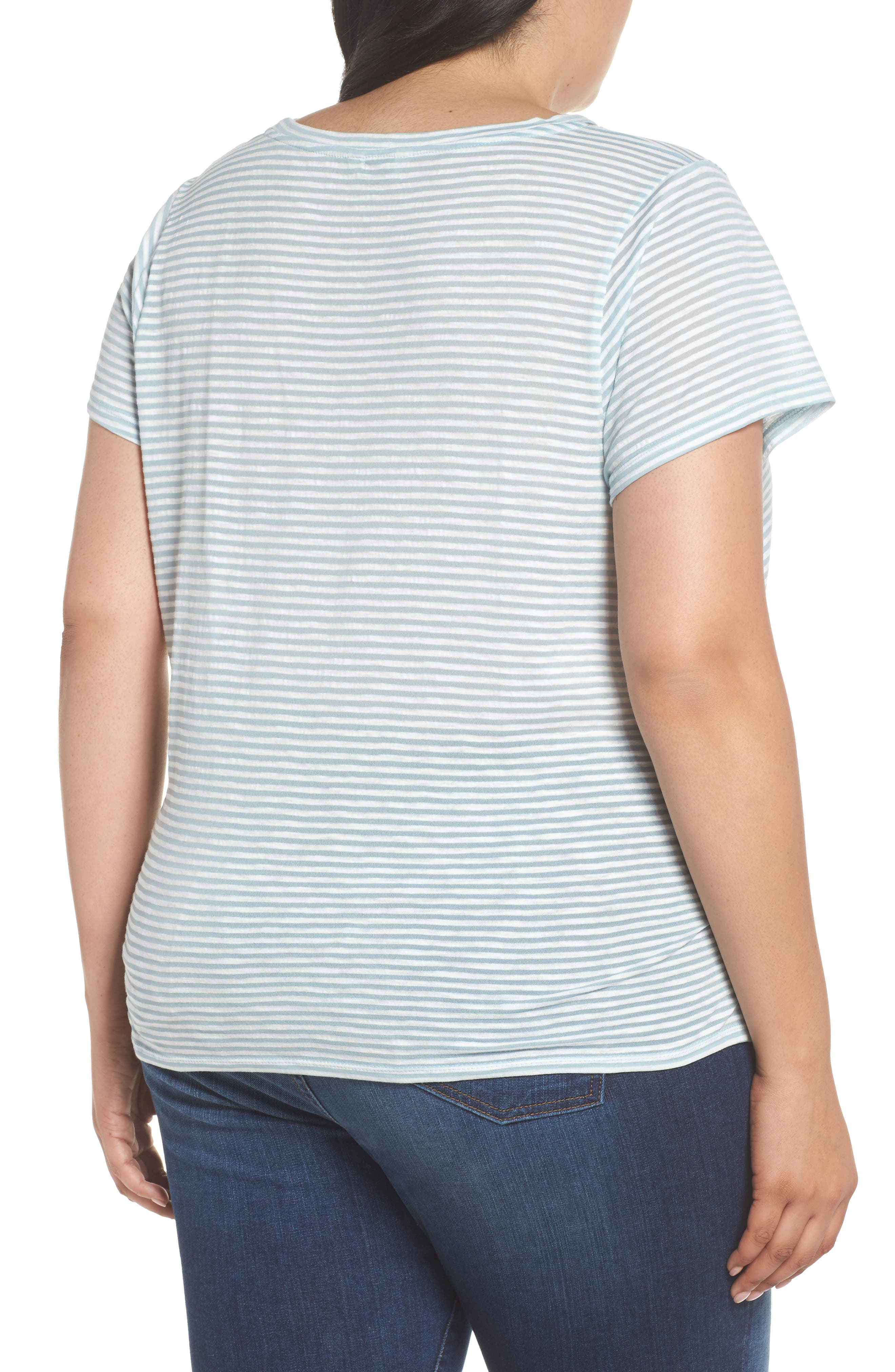 Shadow Stripe Tie Hem Tee,                             Alternate thumbnail 2, color,                             Blue Multi