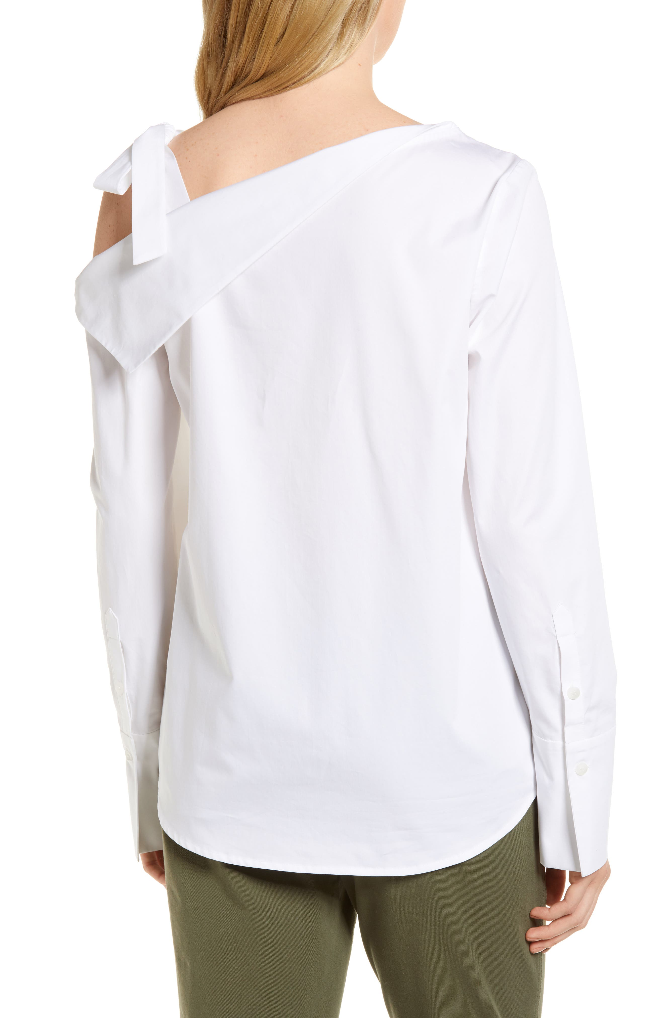 One-Shoulder Shirt,                             Alternate thumbnail 2, color,                             White
