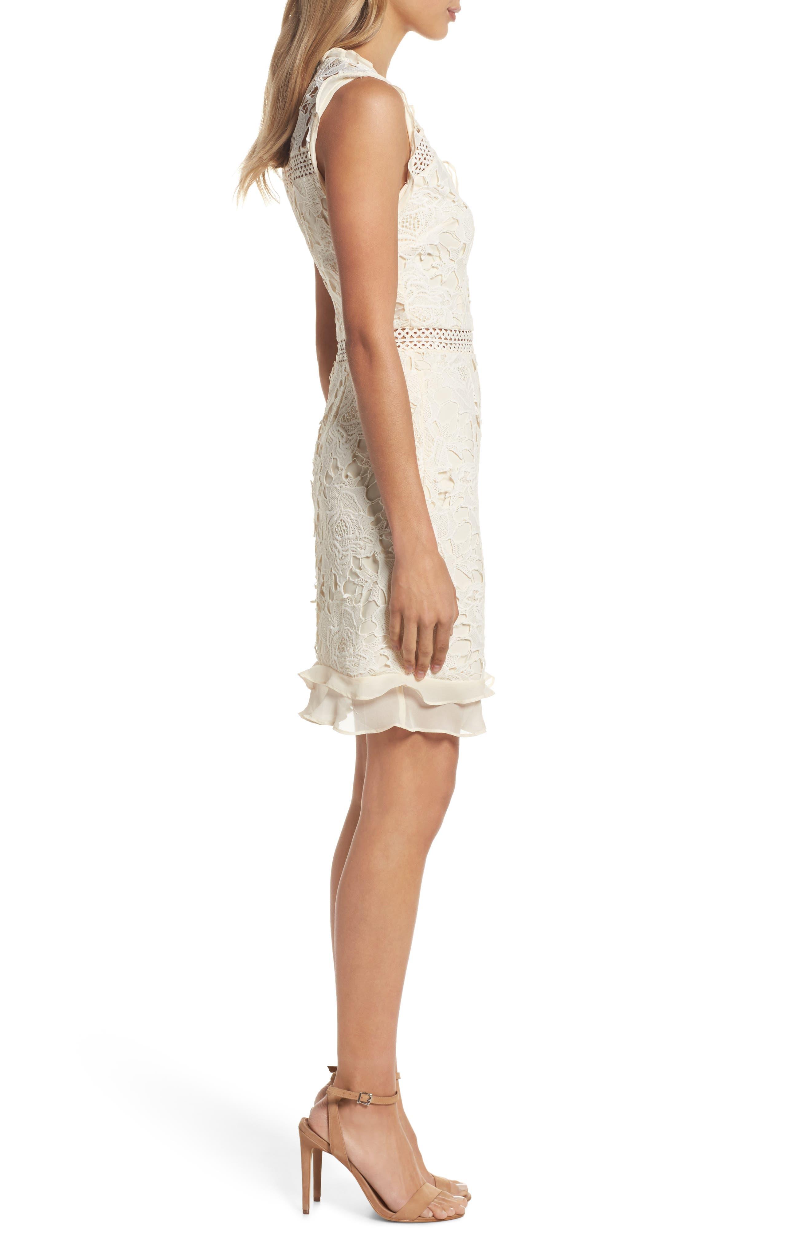 Lustrous Lace Sheath Dress,                             Alternate thumbnail 3, color,                             Coconut Milk