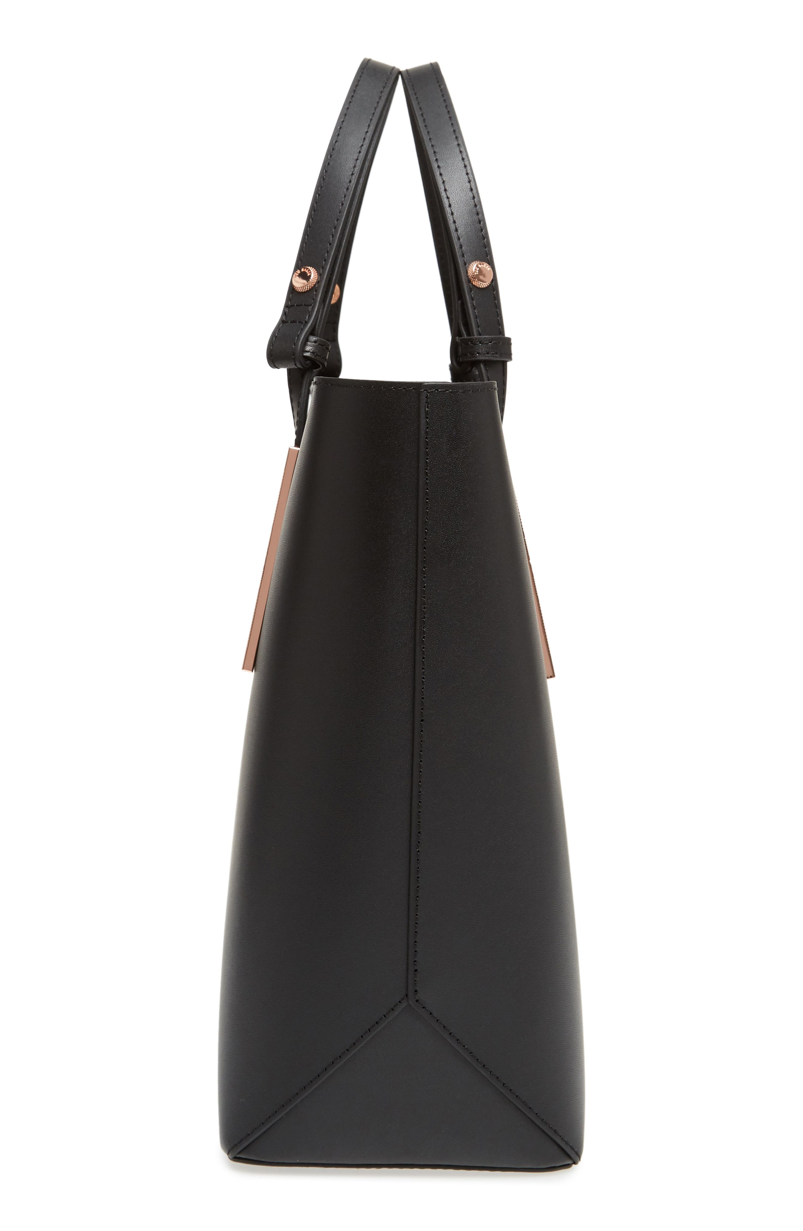 Jaceyy Adjustable Handle Leather Shopper,                             Alternate thumbnail 5, color,                             Black