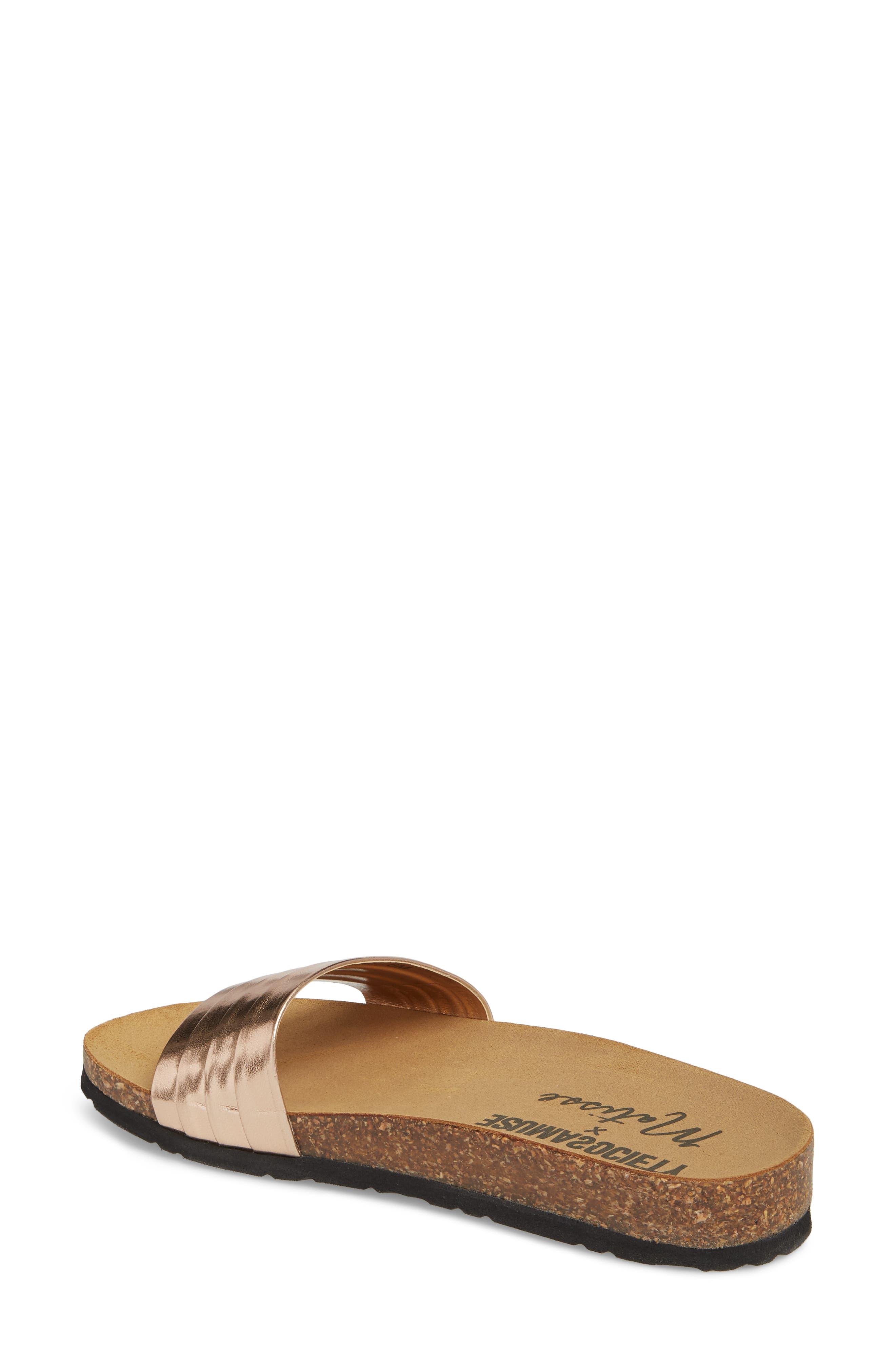 Santos Slide Sandal,                             Alternate thumbnail 2, color,                             Rose Gold Faux Leather