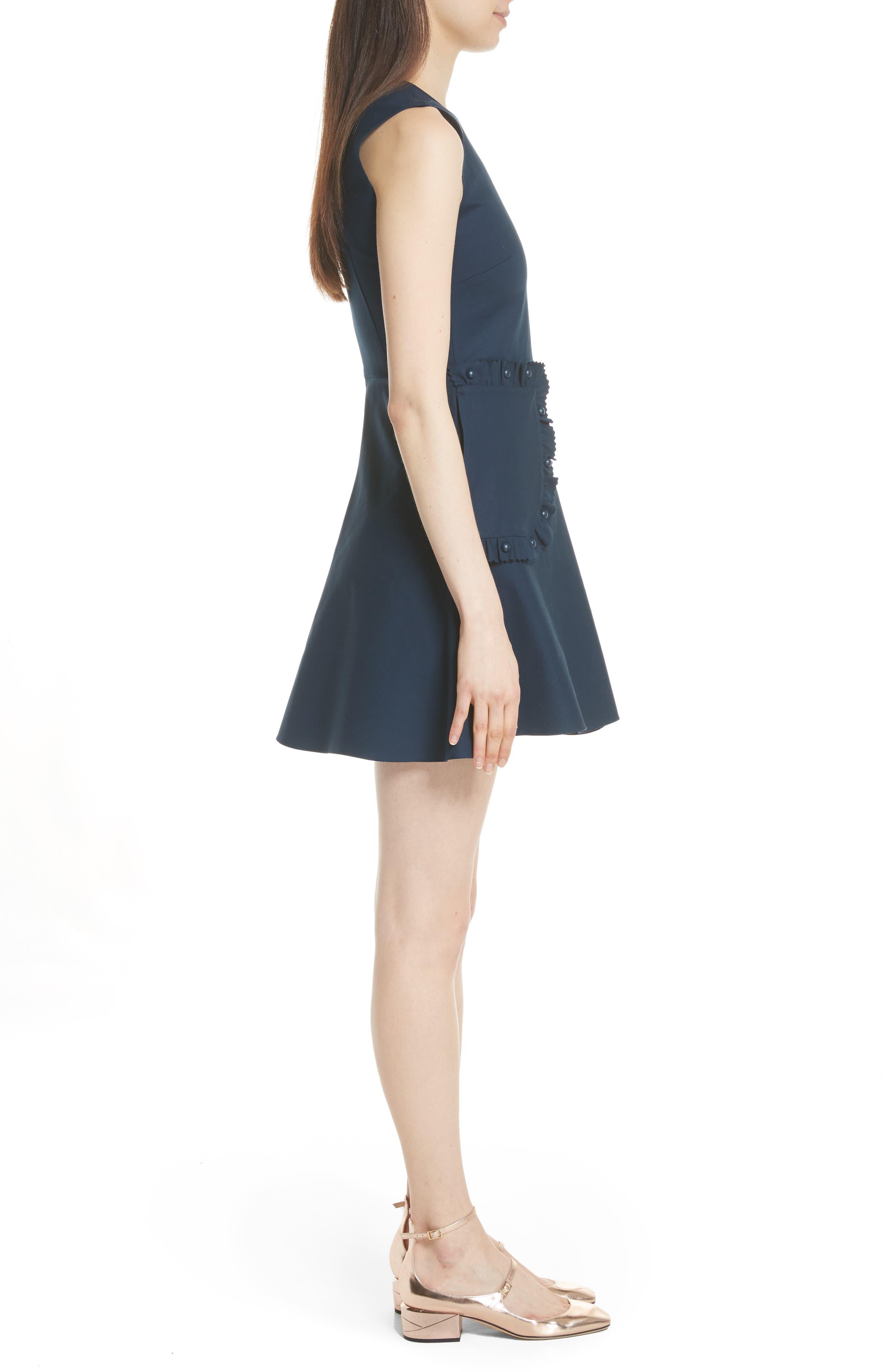 Ruffle Pocket A-Line Dress,                             Alternate thumbnail 3, color,                             Oceano