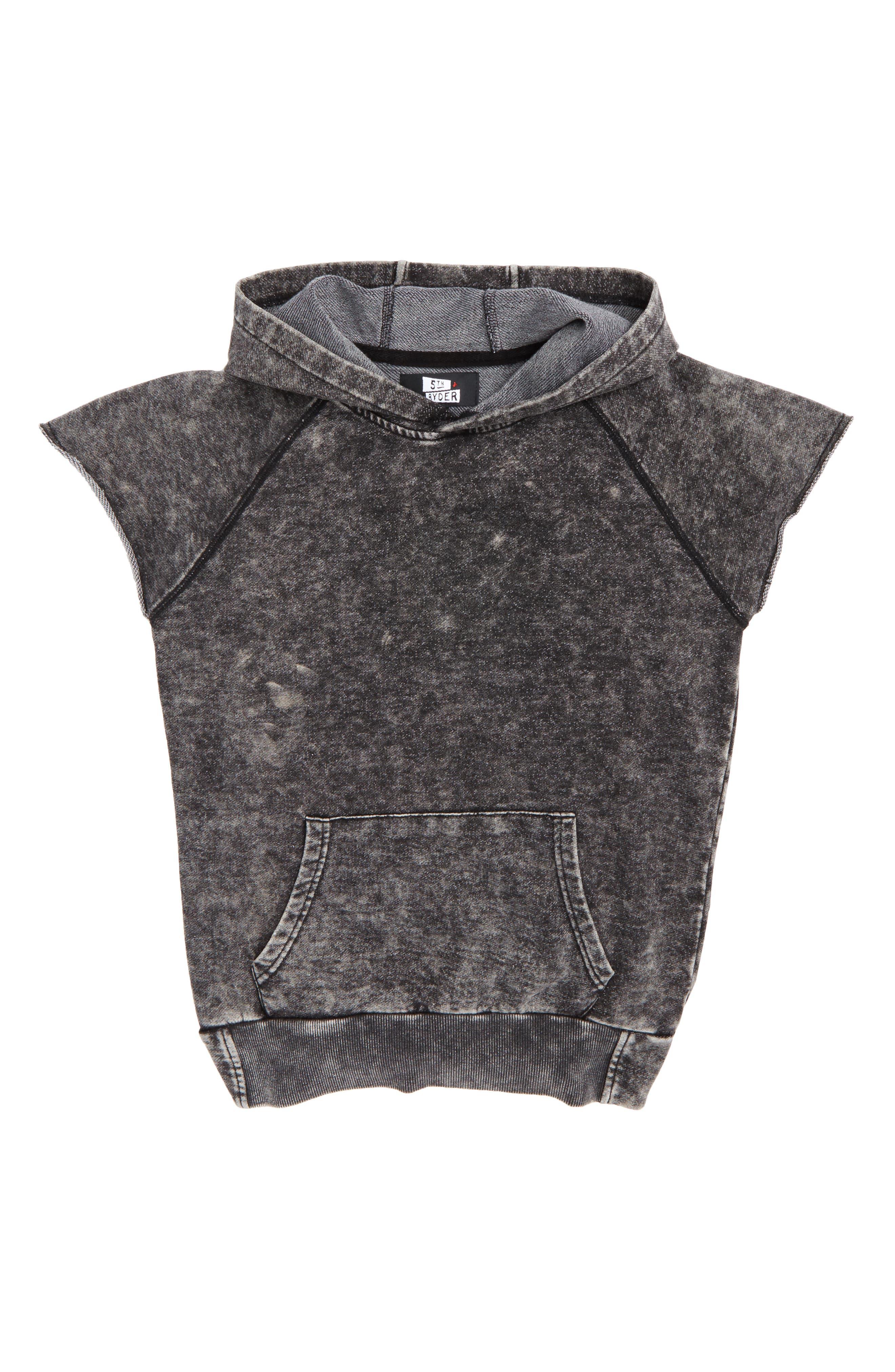 Sleeveless Hoodie,                         Main,                         color, Black Snow Wash
