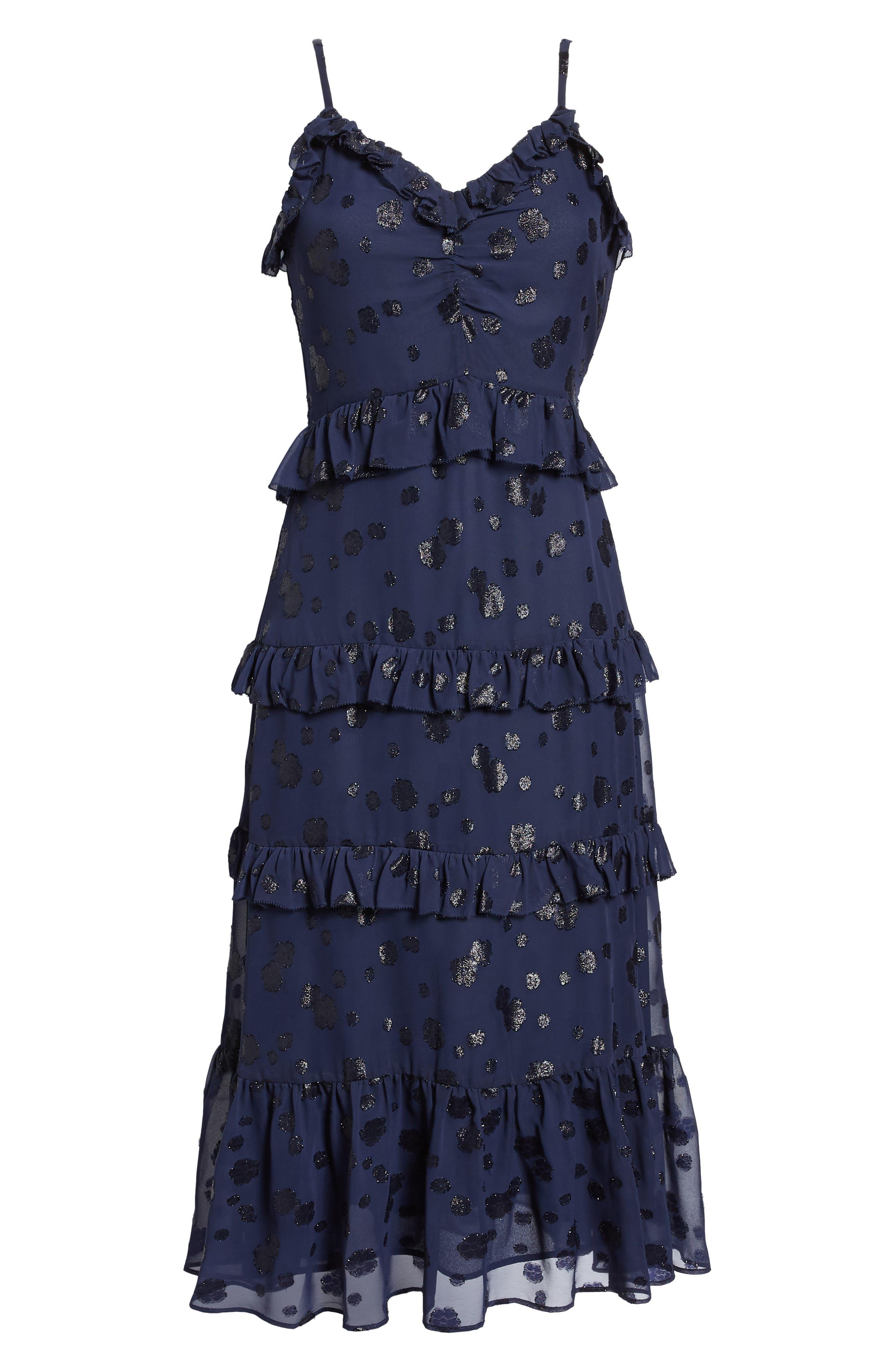 Tiered Ruffle Dress,                             Alternate thumbnail 6, color,                             True Navy