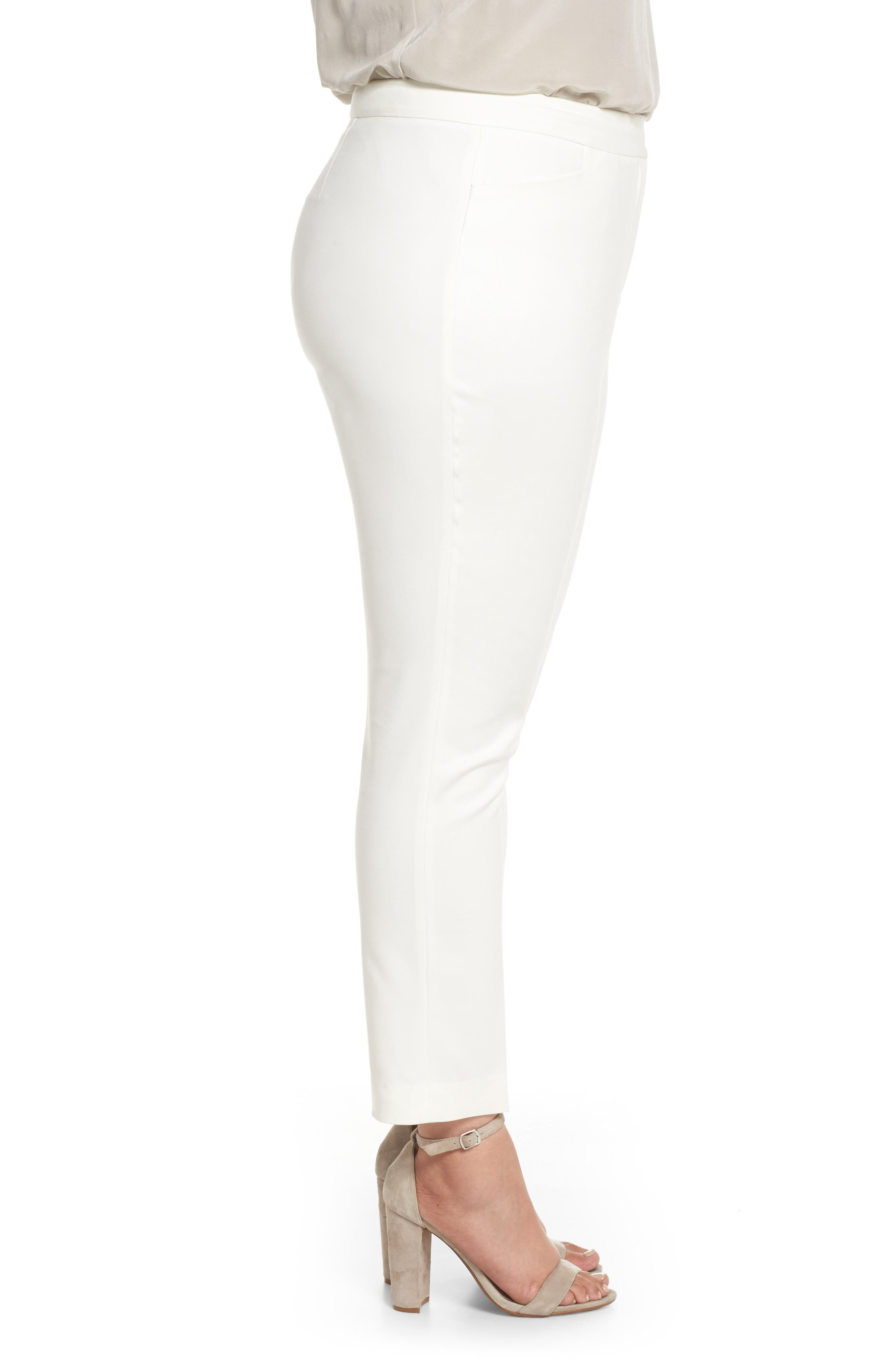 Stretch Cotton Blend Ankle Pants,                             Alternate thumbnail 3, color,                             New Ivory