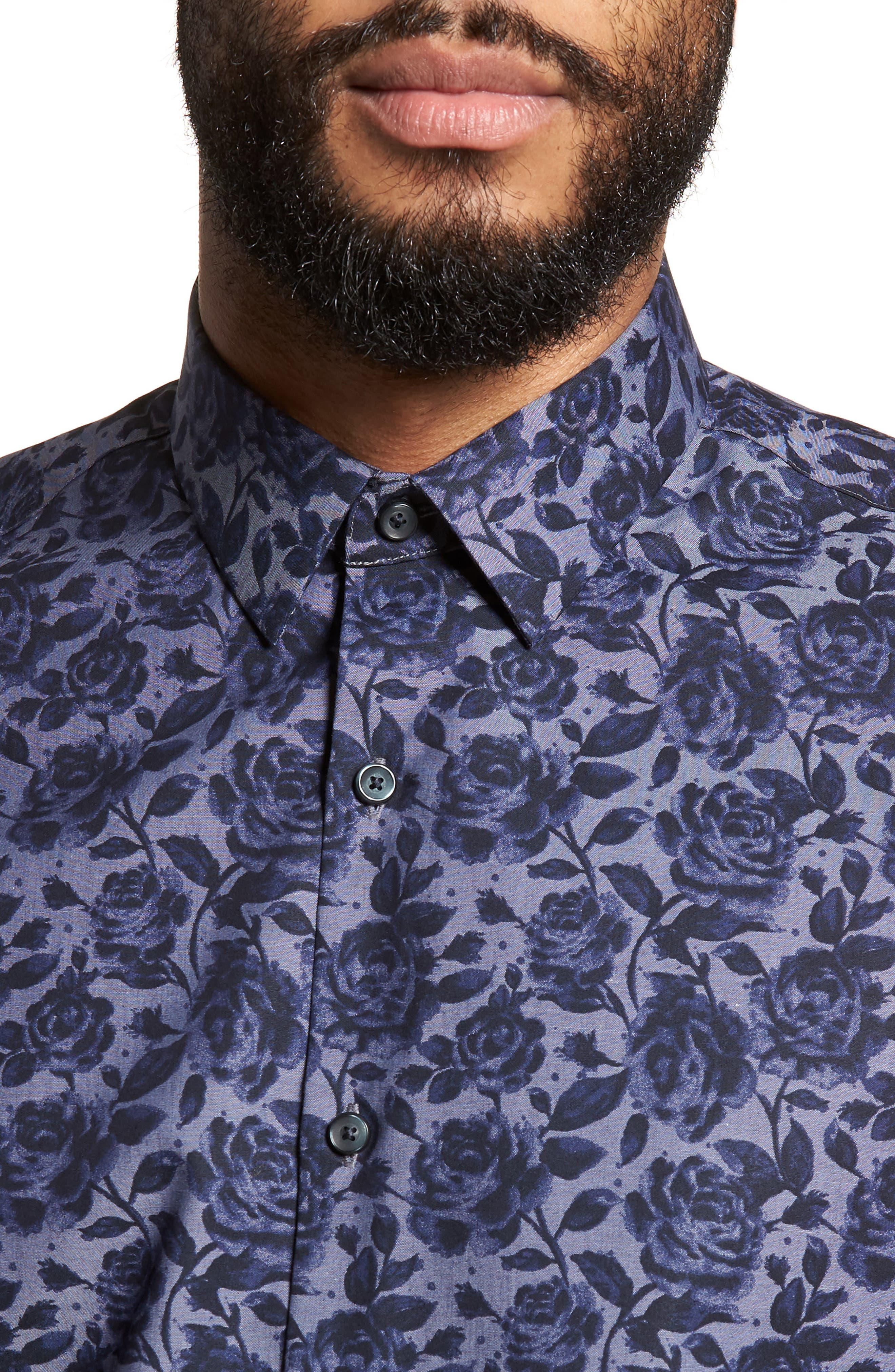 Floral Print Sport Shirt,                             Alternate thumbnail 2, color,                             Navy Blue Chambray Floral