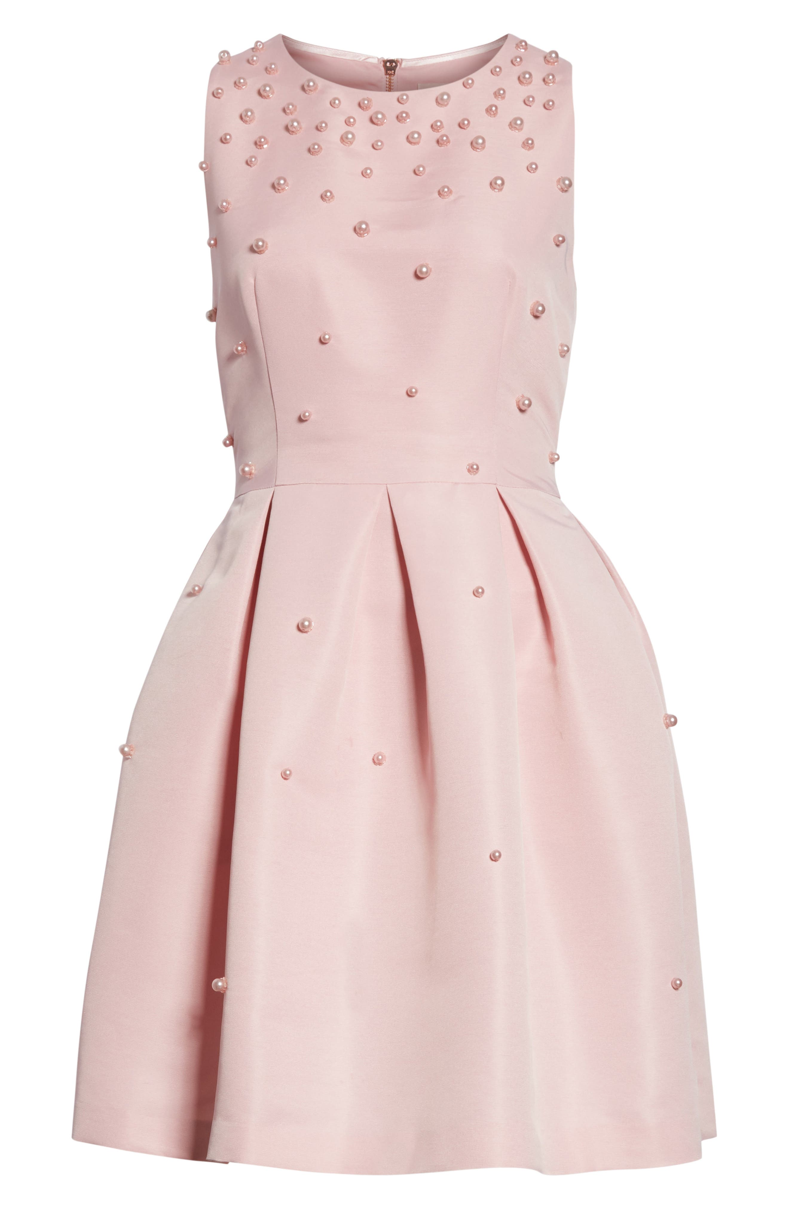Embellished Skater Dress,                             Alternate thumbnail 6, color,                             Baby Pink