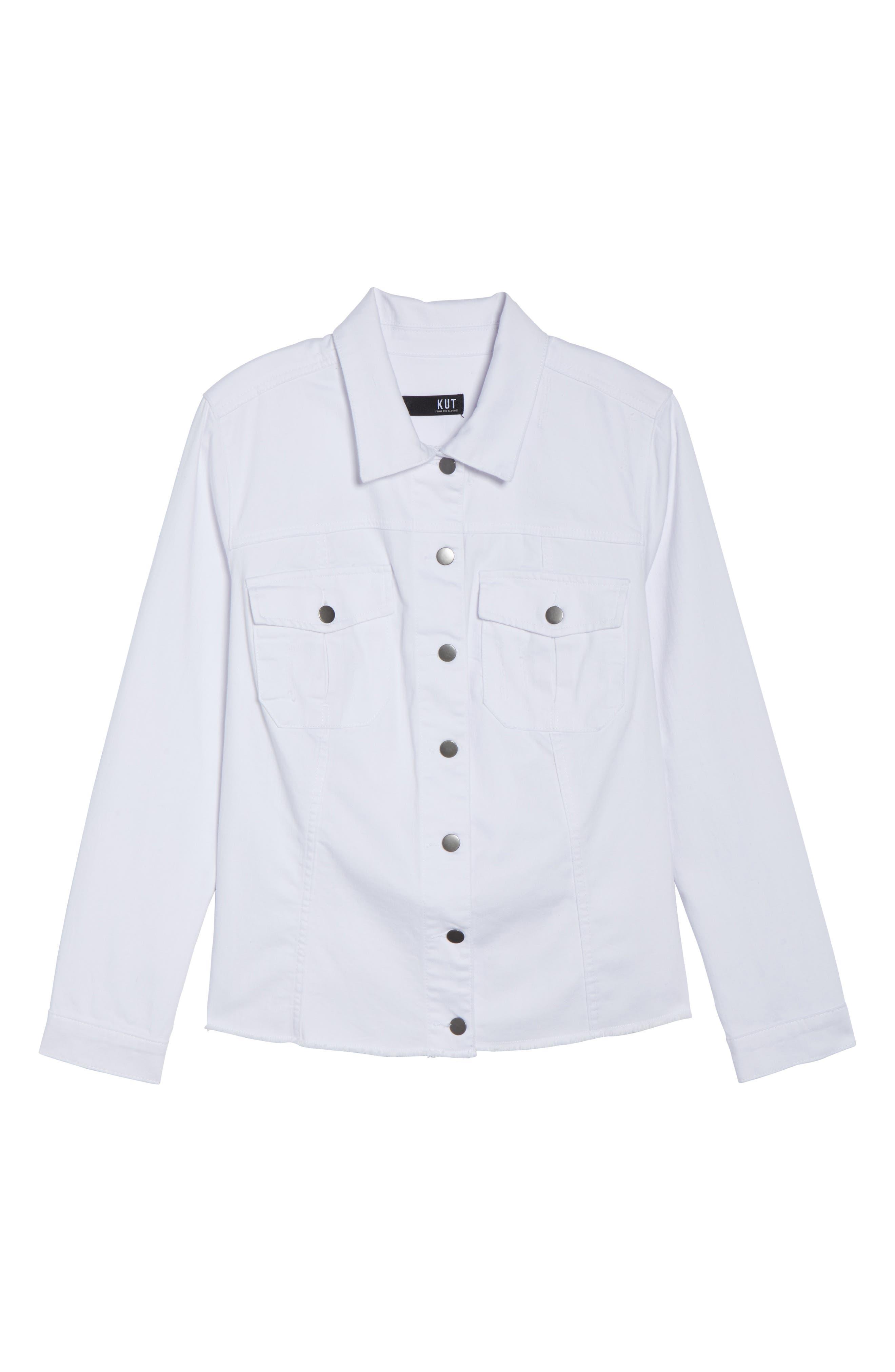 Kara Denim Jacket,                             Alternate thumbnail 7, color,                             Optic White