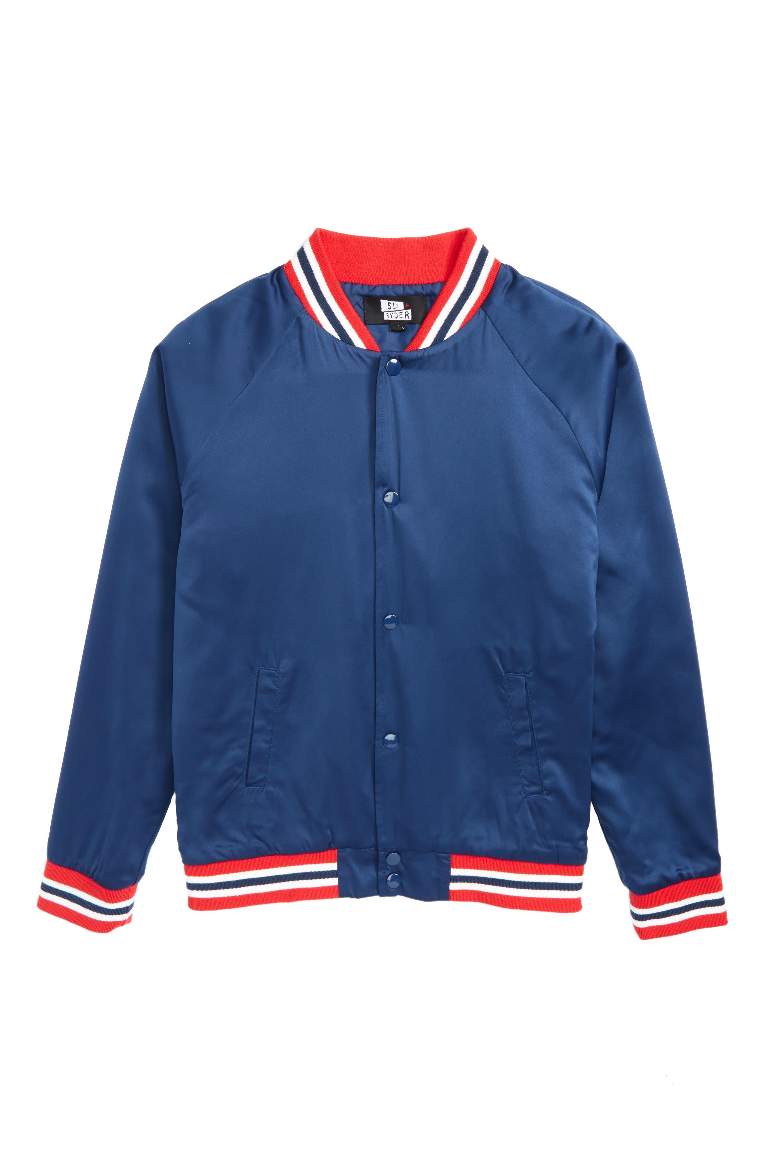 Water Resistant Varsity Jacket,                             Main thumbnail 1, color,                             Uniform Blue