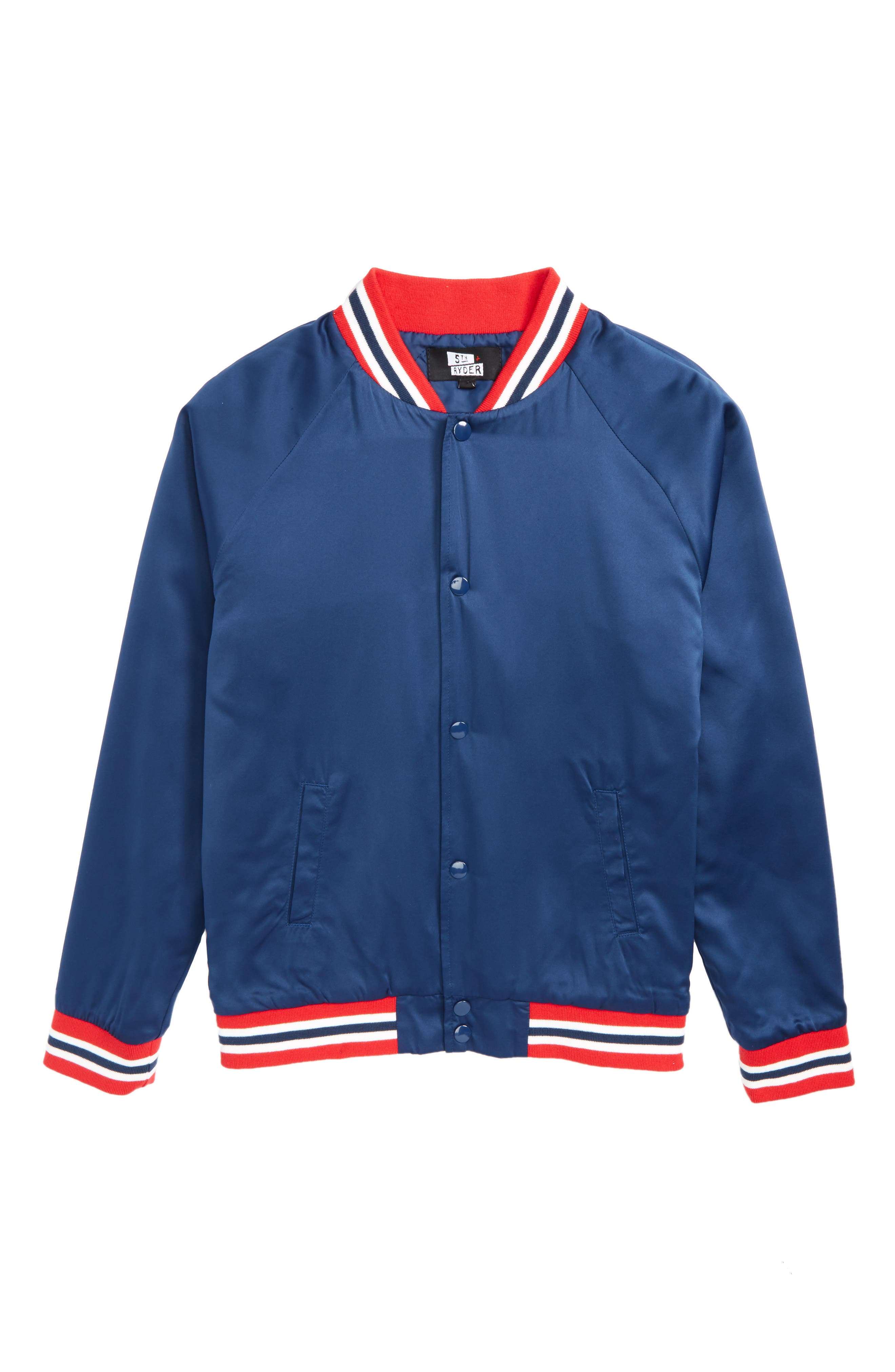 Water Resistant Varsity Jacket,                         Main,                         color, Uniform Blue