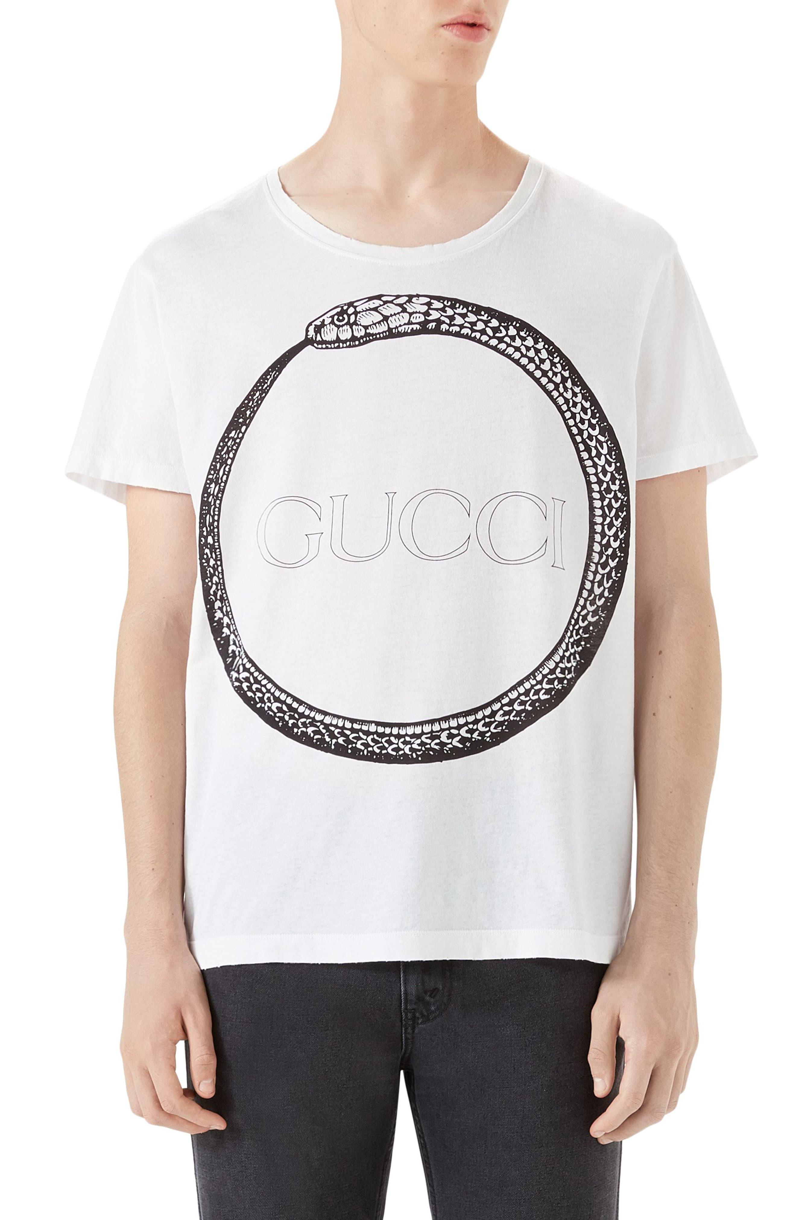 Ouroboros Logo Graphic T-Shirt,                             Main thumbnail 1, color,                             White