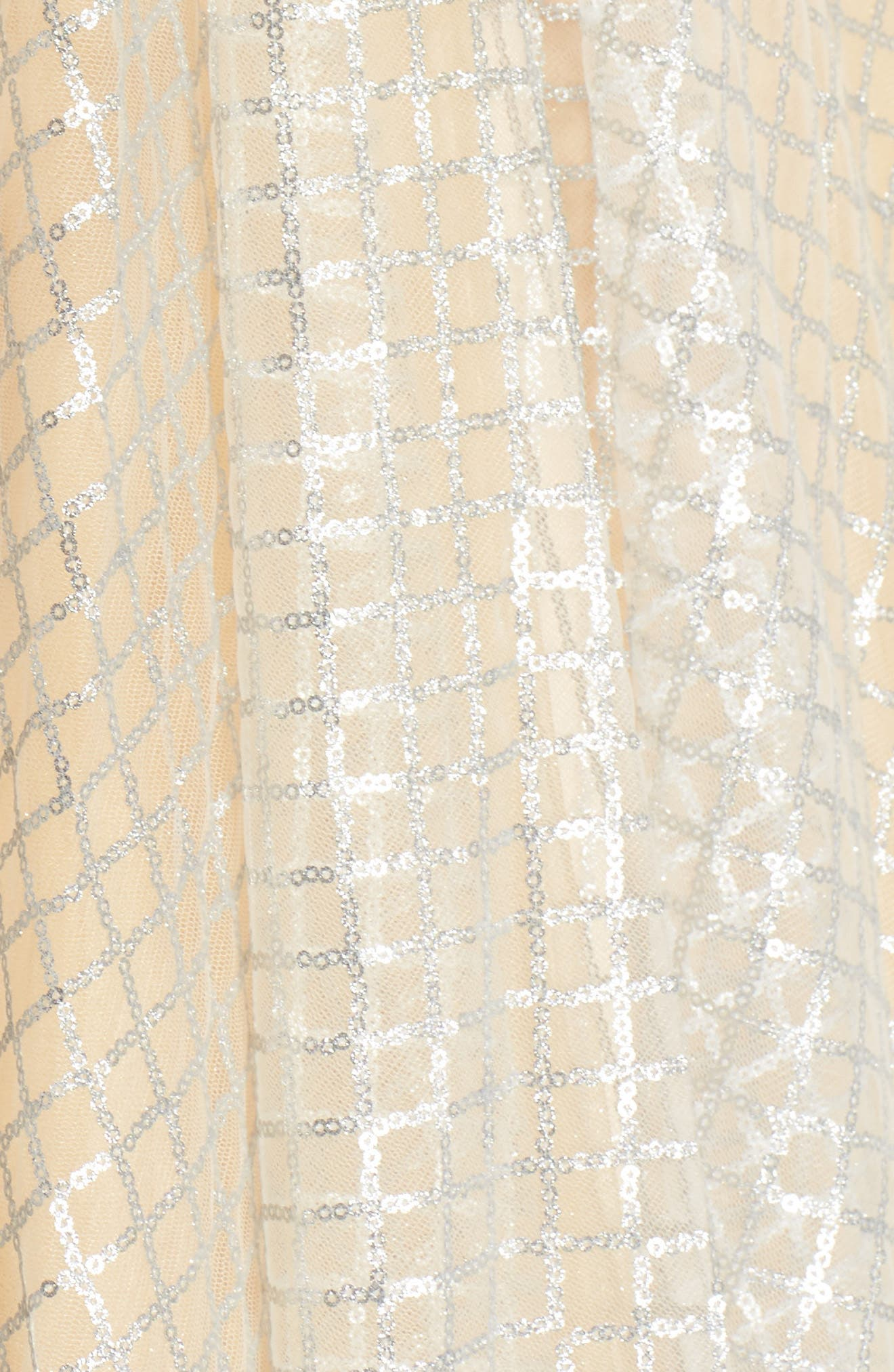 Sequin Illusion Neck Gown,                             Alternate thumbnail 5, color,                             Nude/ Silver