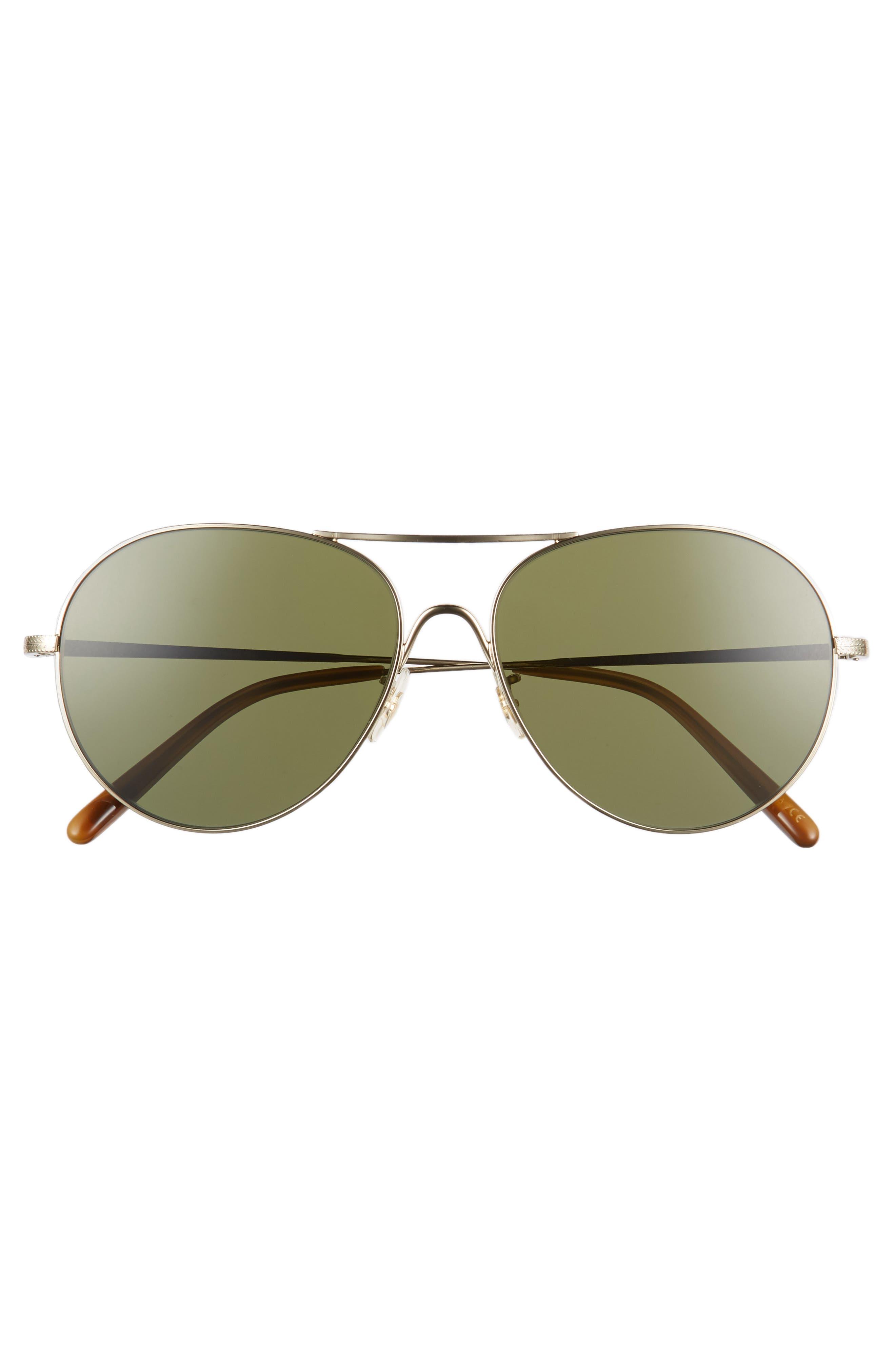 Rockmore 58mm Aviator Sunglasses,                             Alternate thumbnail 3, color,                             Gold/ Green