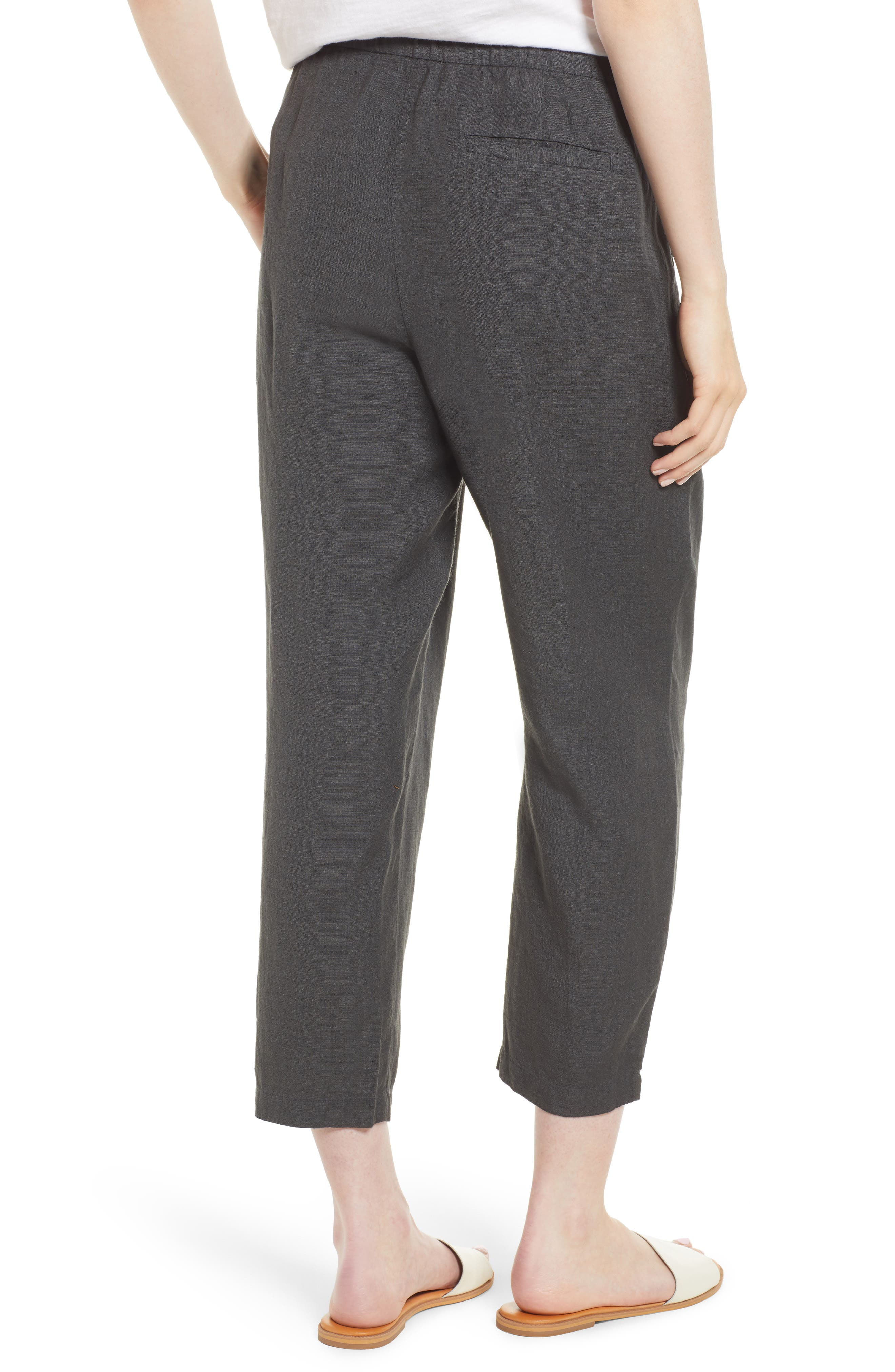 Pleated Linen Blend Ankle Trousers,                             Alternate thumbnail 2, color,                             Graphite