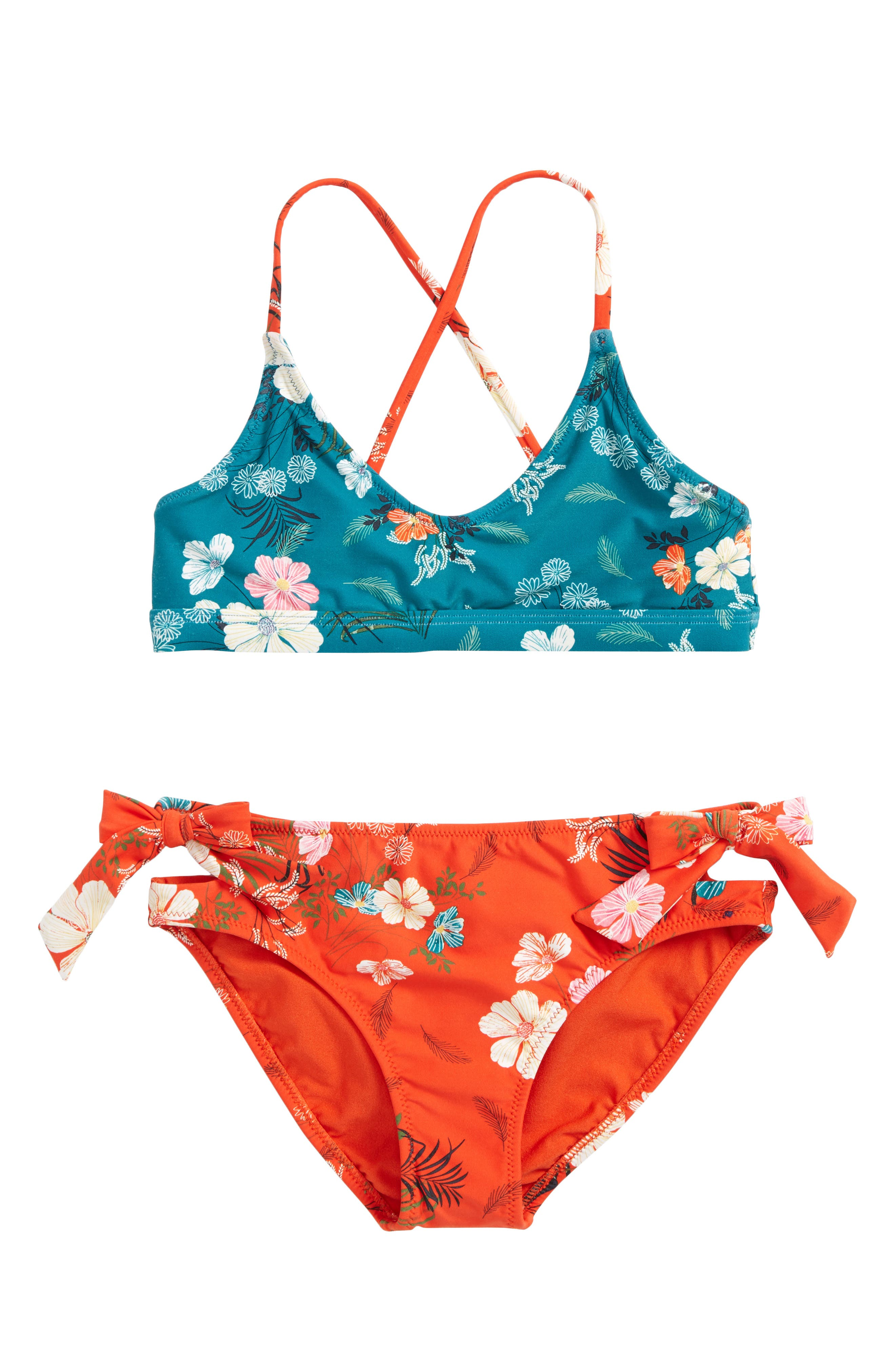 Lucy Reversible Two-Piece Swimsuit,                         Main,                         color, Org- Tigerlily