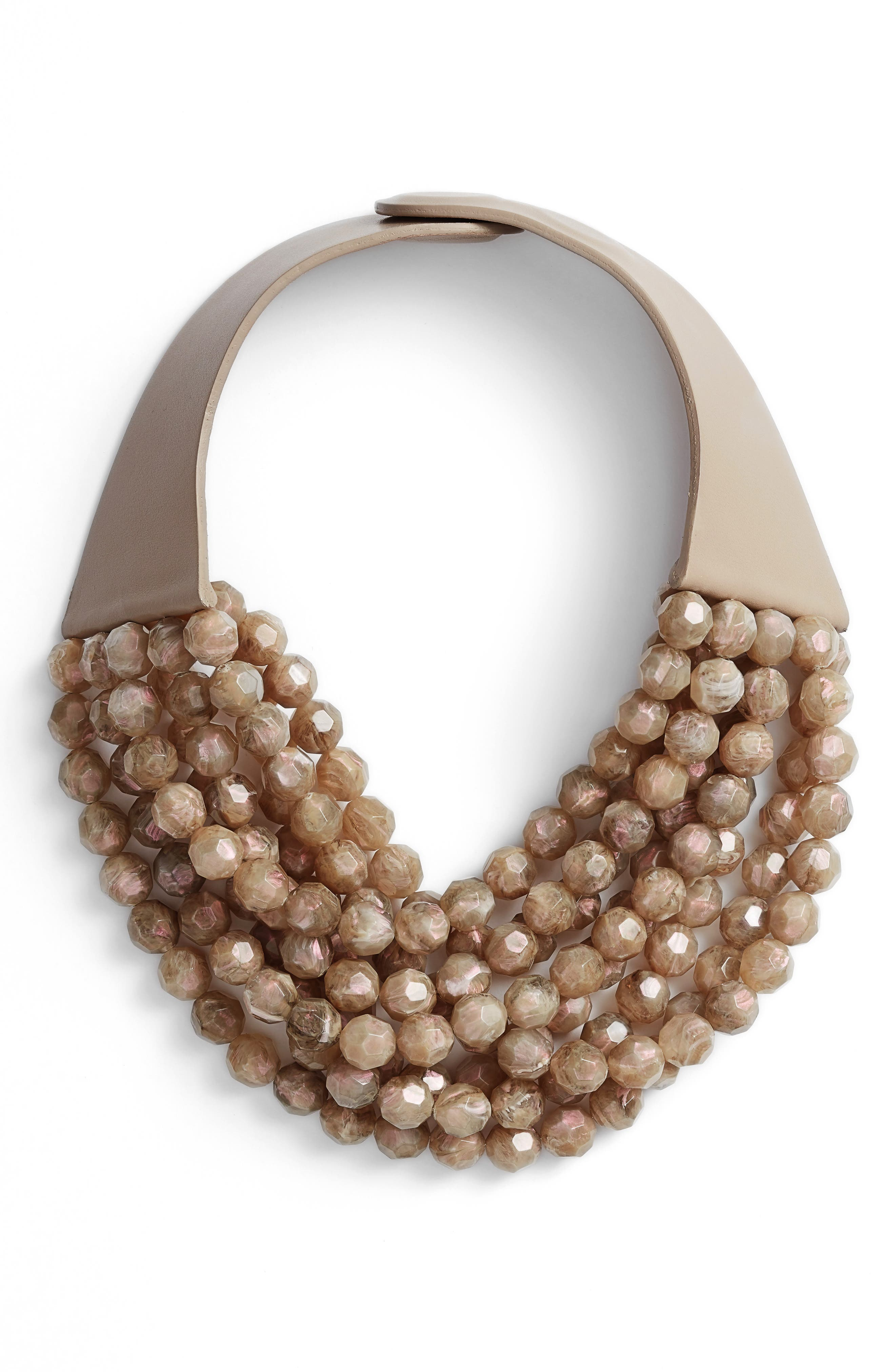 Beaded Collar Necklace,                         Main,                         color, Iridescent Mushroom/ Taupe