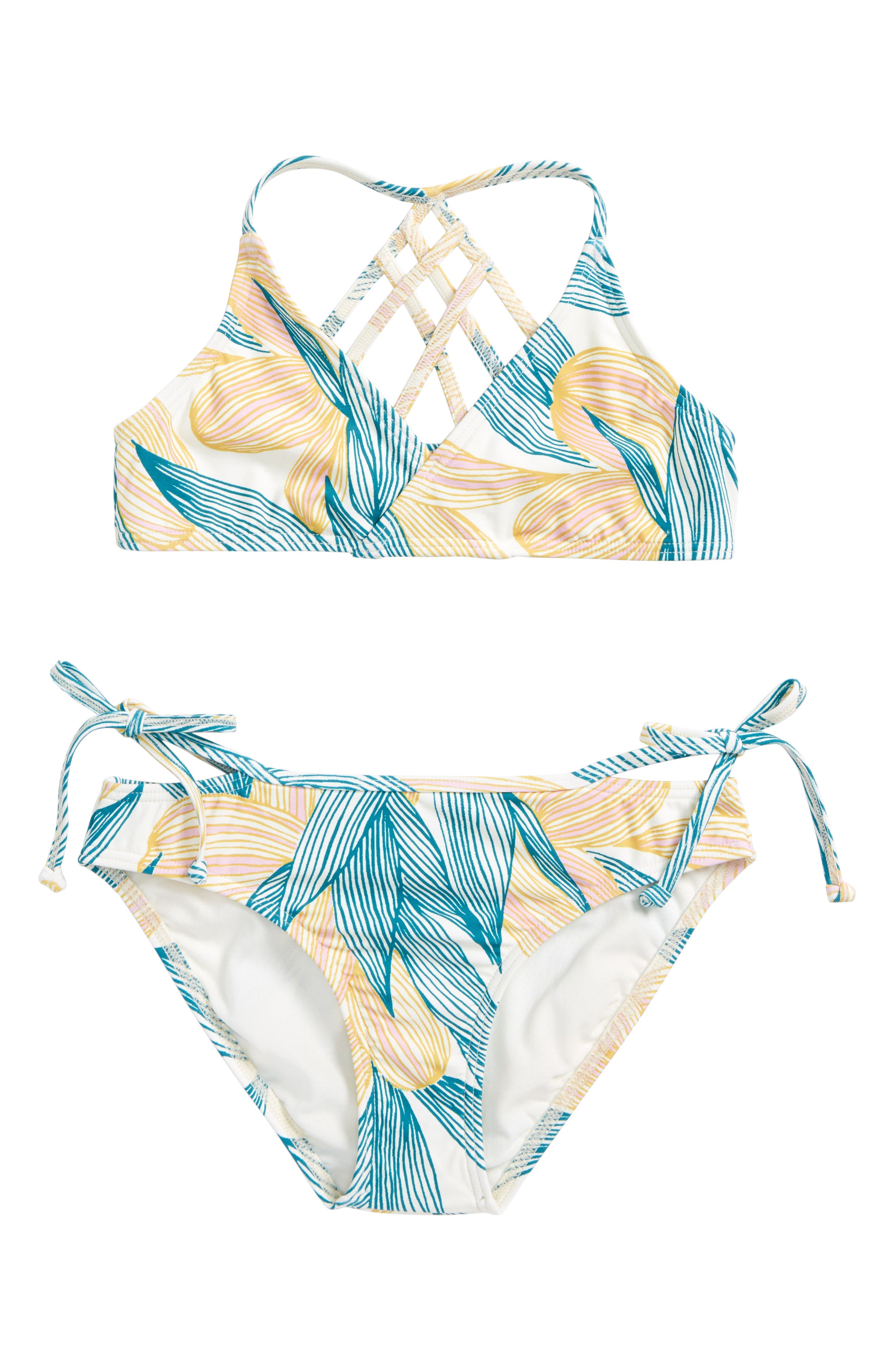 Bethany Two-Piece Strappy Swimsuit,                             Main thumbnail 1, color,                             Island Turquoise