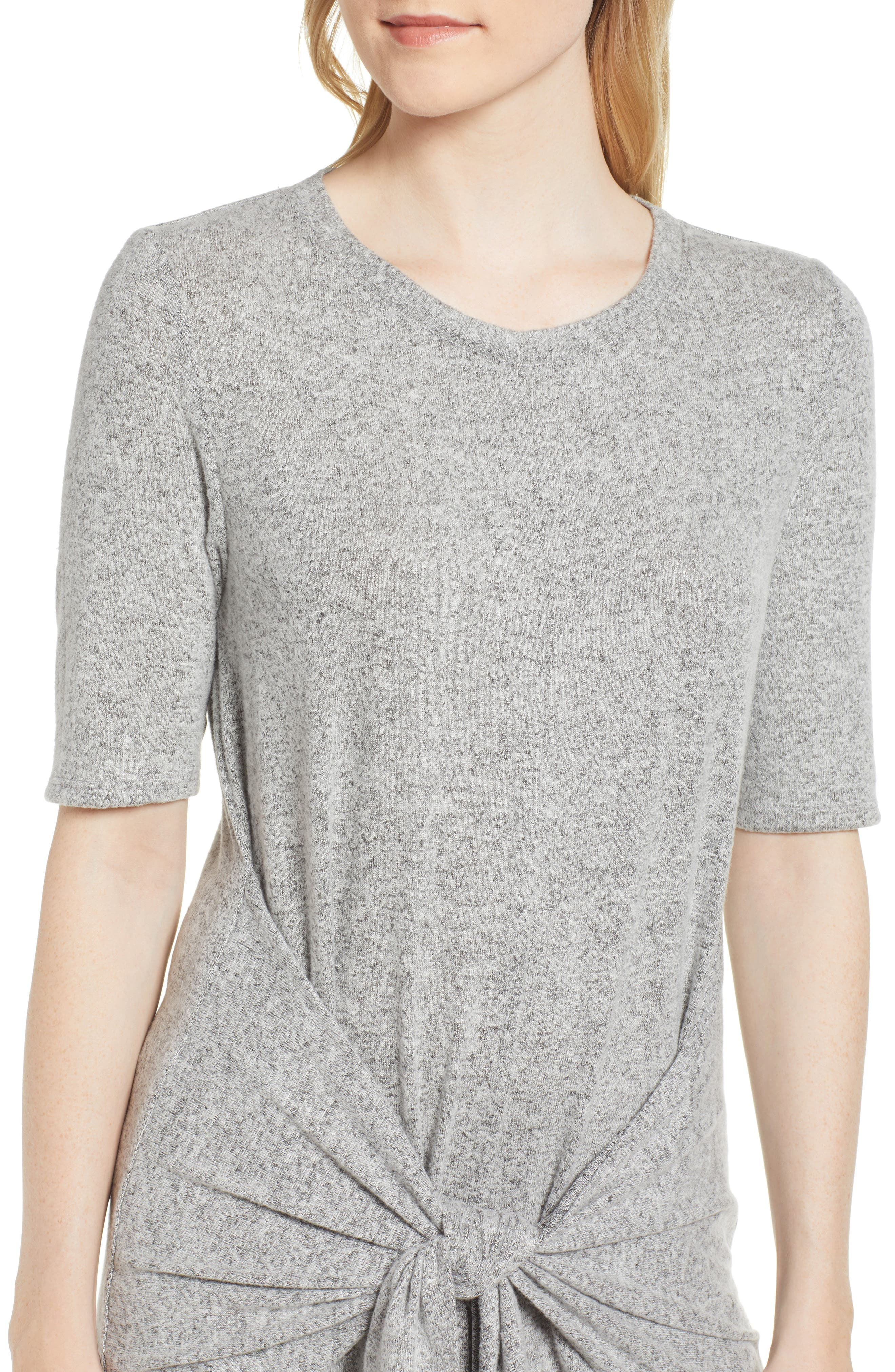 Caslon Off-Duty Tie Front Knit Dress,                             Alternate thumbnail 4, color,                             Grey Heather