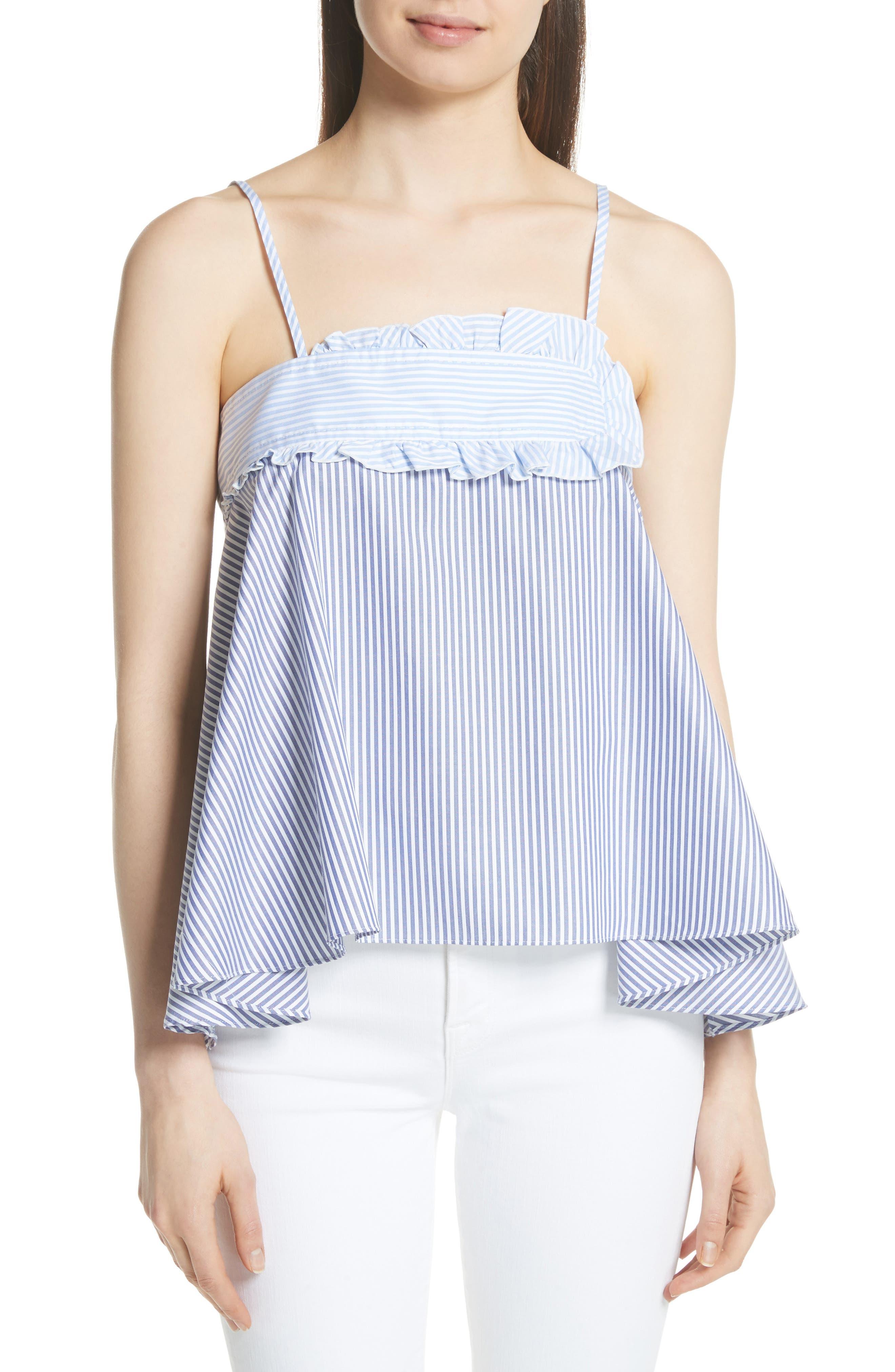 Stripe Cotton Swing Tank,                         Main,                         color, Baby Blue/ Blanc