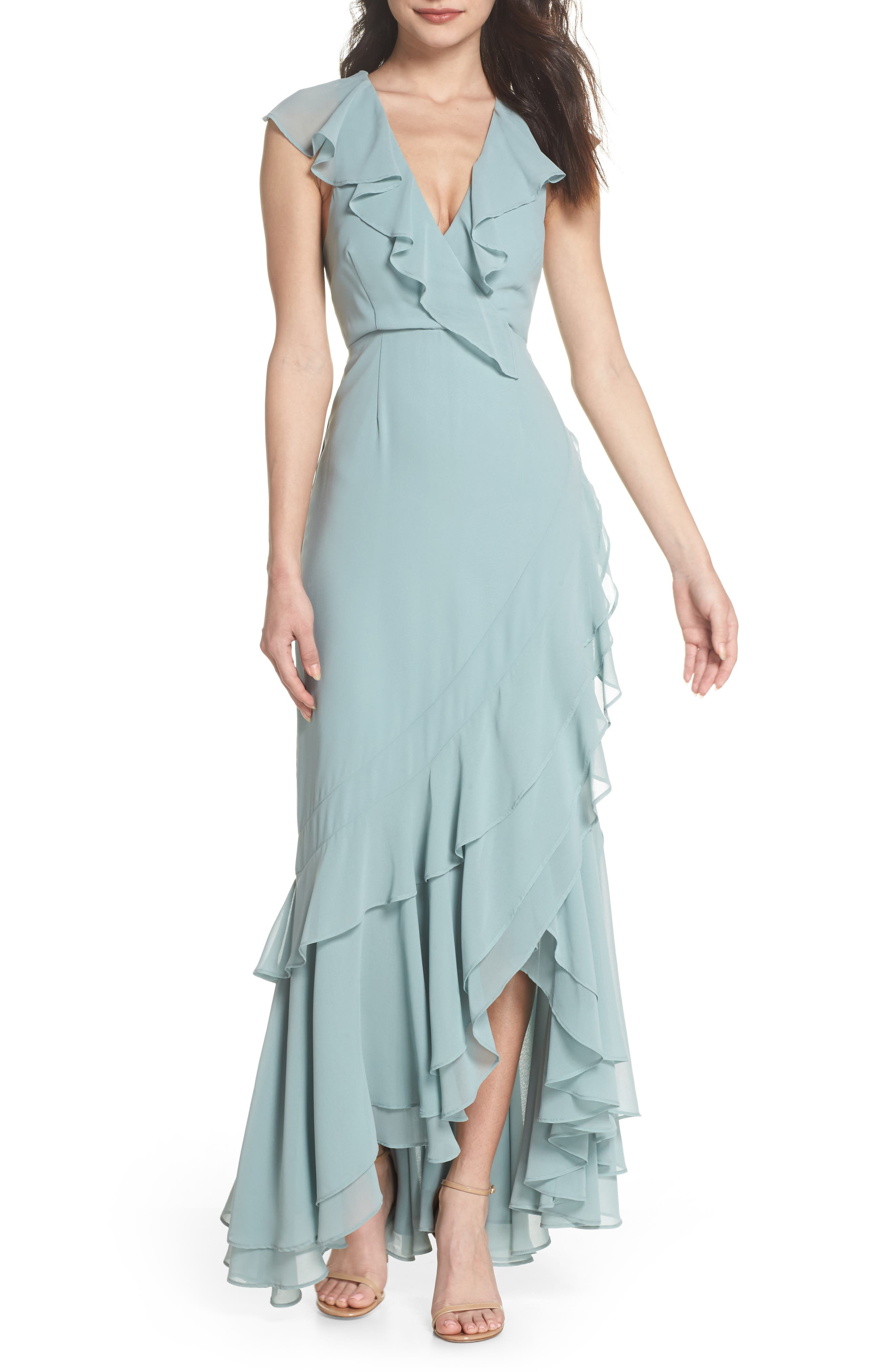 C/MEO Be About You Ruffle Gown,                             Main thumbnail 1, color,                             Sage