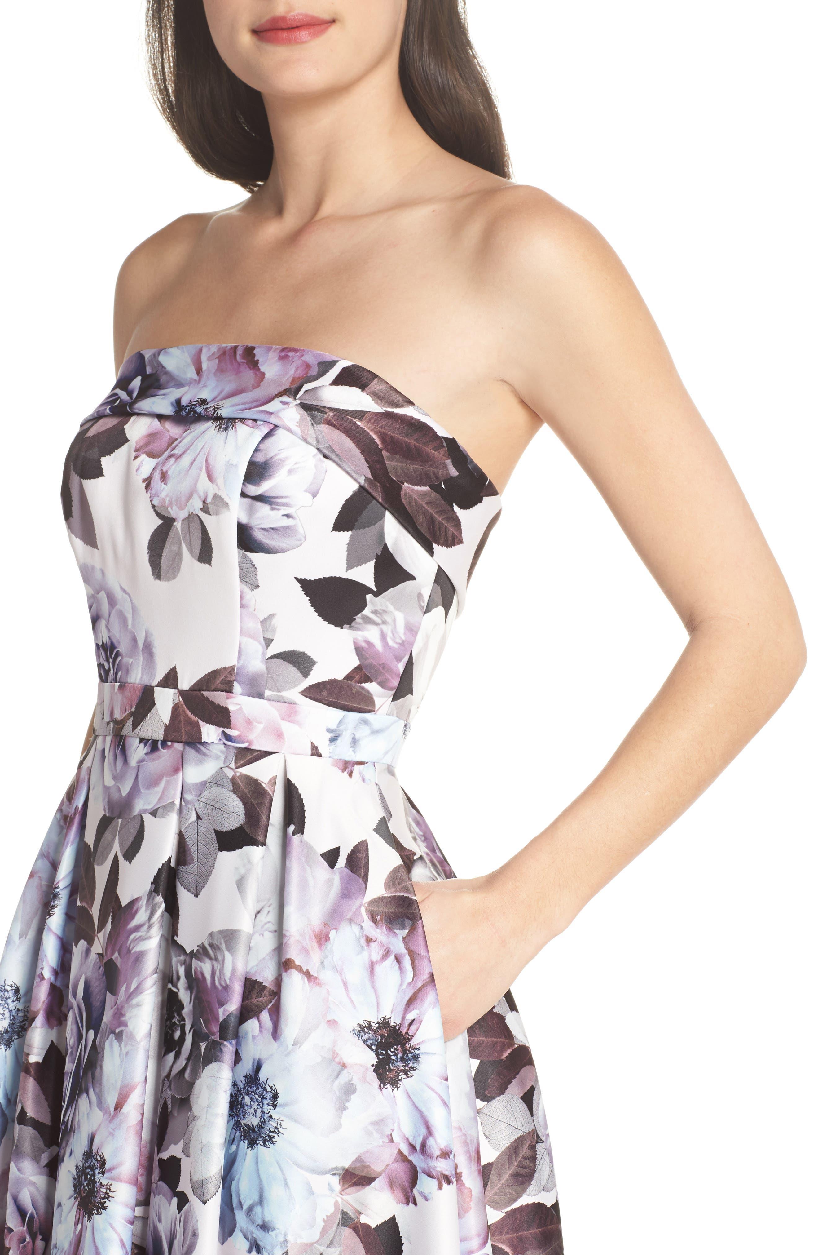 Floral Bustier High/Low Gown,                             Alternate thumbnail 4, color,                             Blue Multi