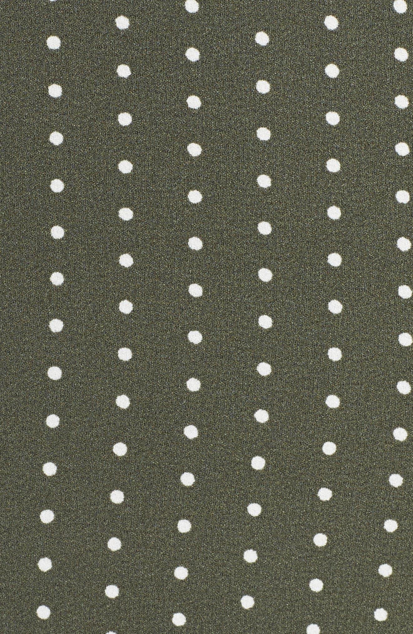 Entice Dot Ruffle Trim Dress,                             Alternate thumbnail 5, color,                             Khaki W Ivory Spot