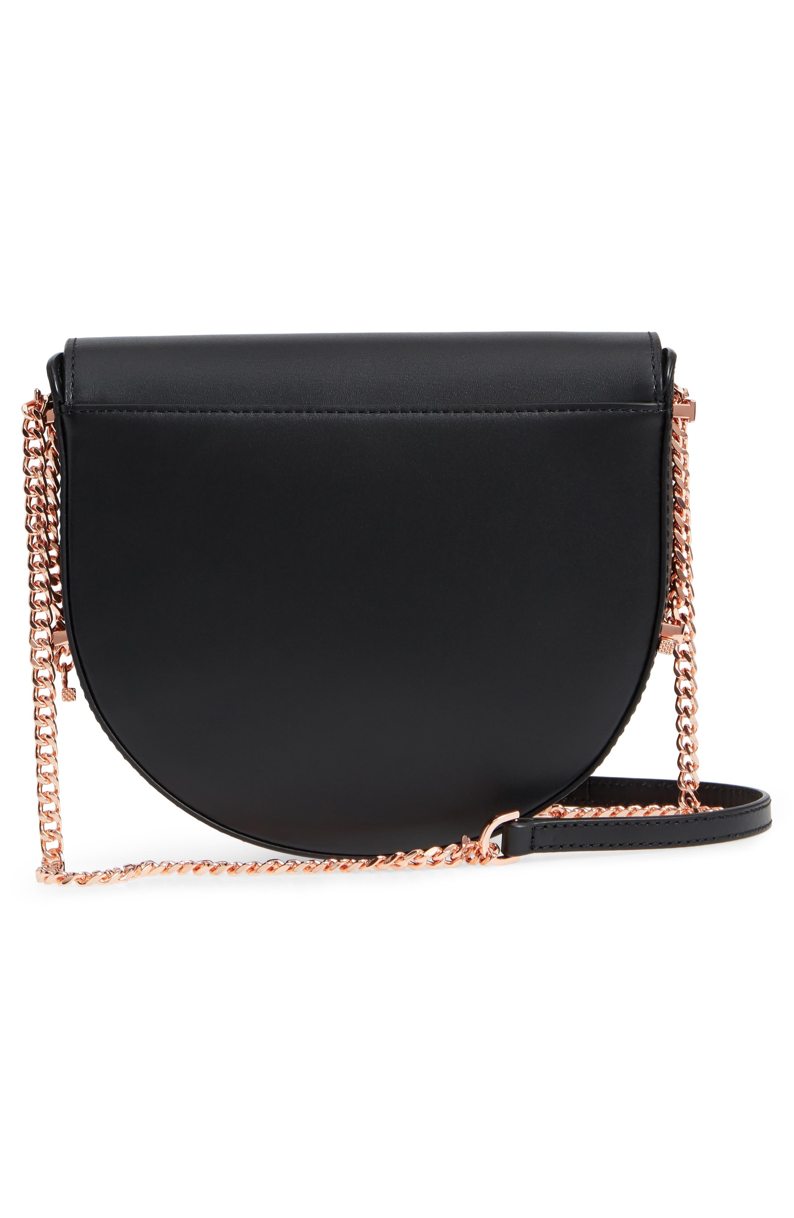 Roslyn Leather Crossbody Bag,                             Alternate thumbnail 3, color,                             Black