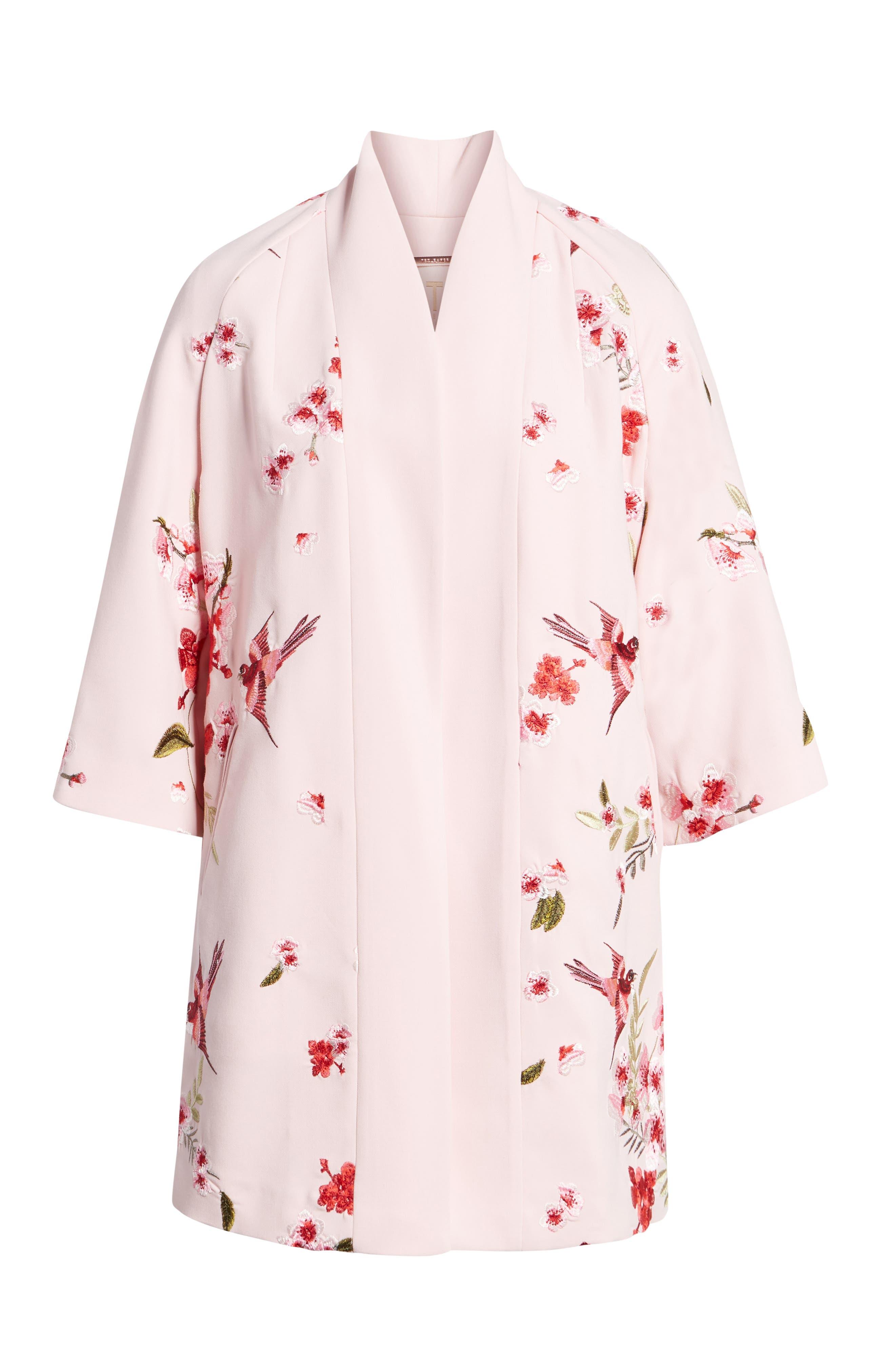 Bird & Blossom Spring Kimono,                             Alternate thumbnail 7, color,                             Baby Pink