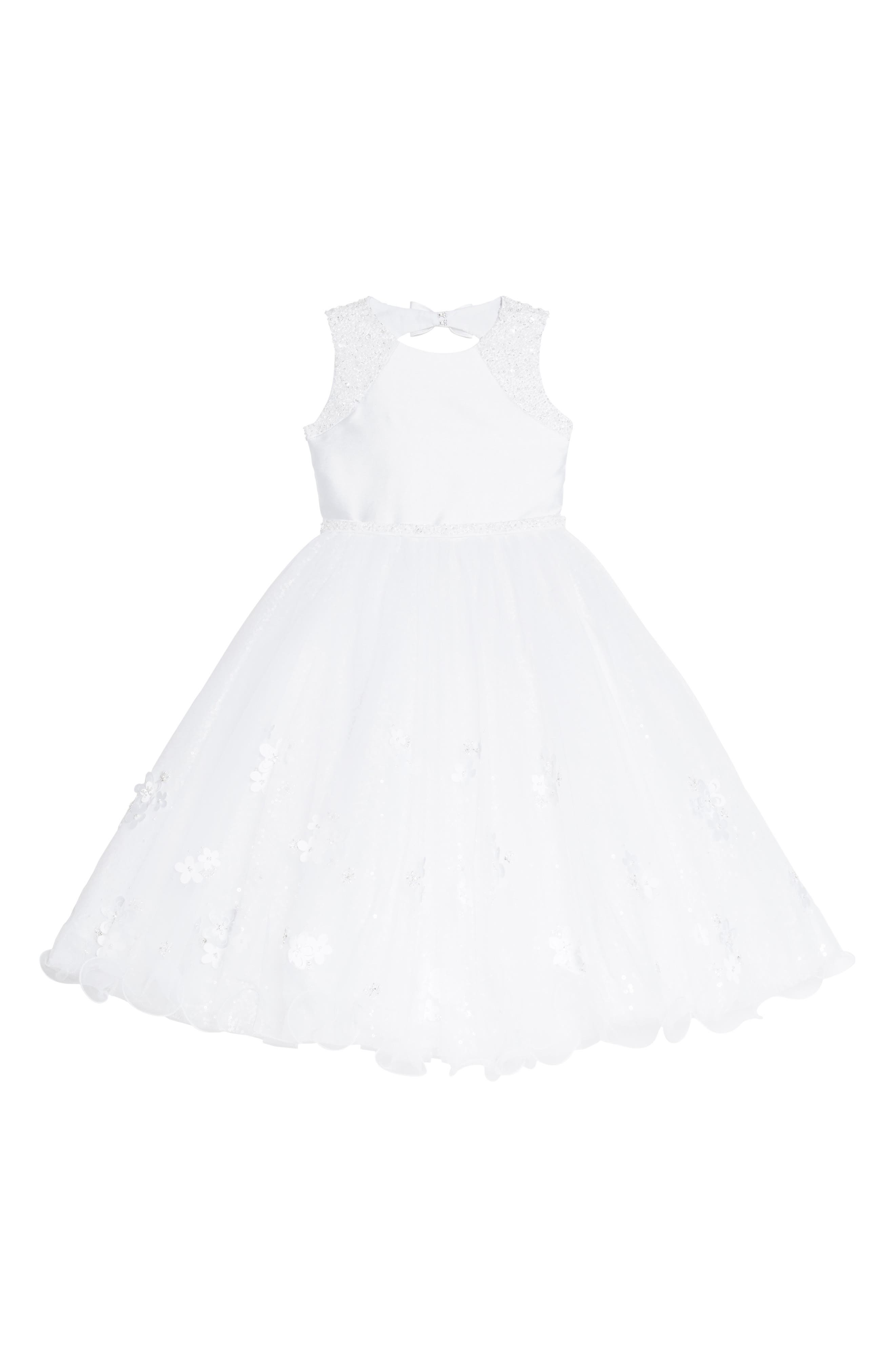 Beaded Tulle First Communion Dress,                             Main thumbnail 1, color,                             White