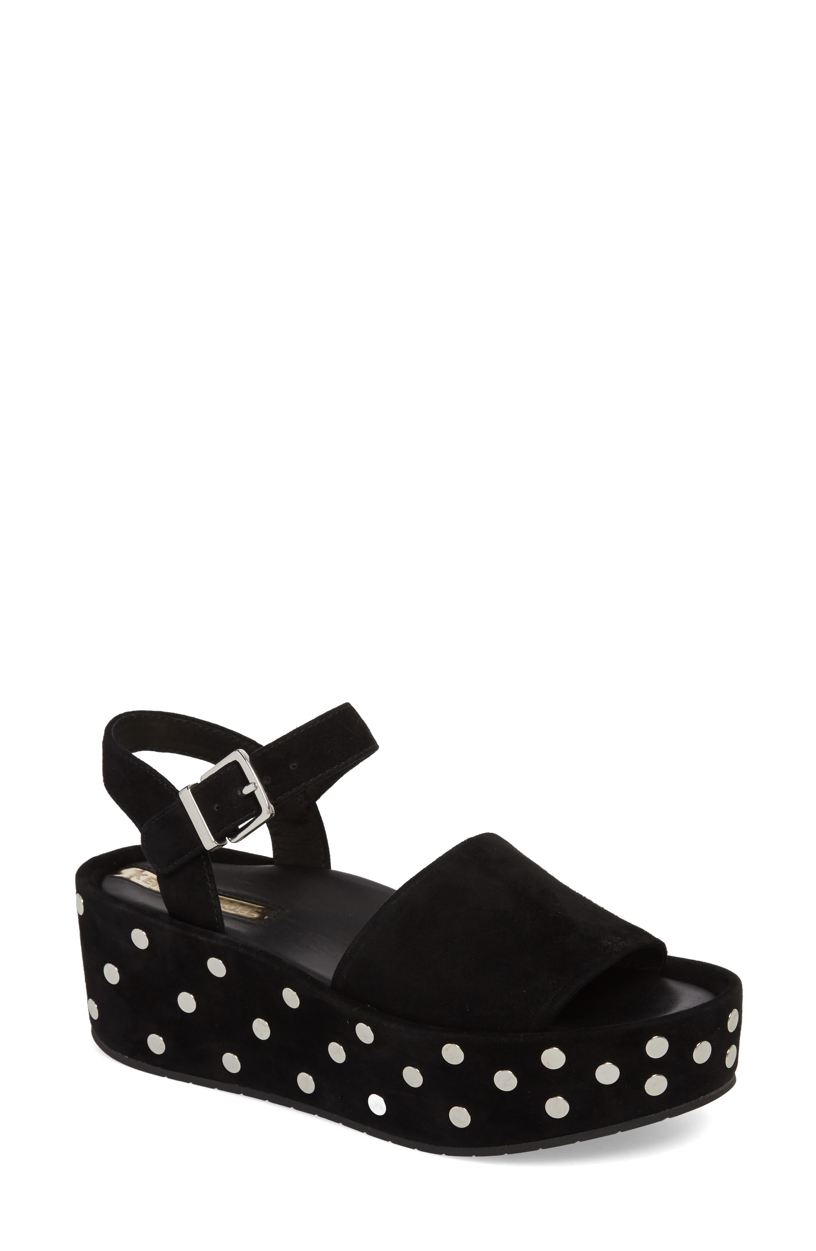 Danton Studs Platform Sandal,                         Main,                         color, Black Suede