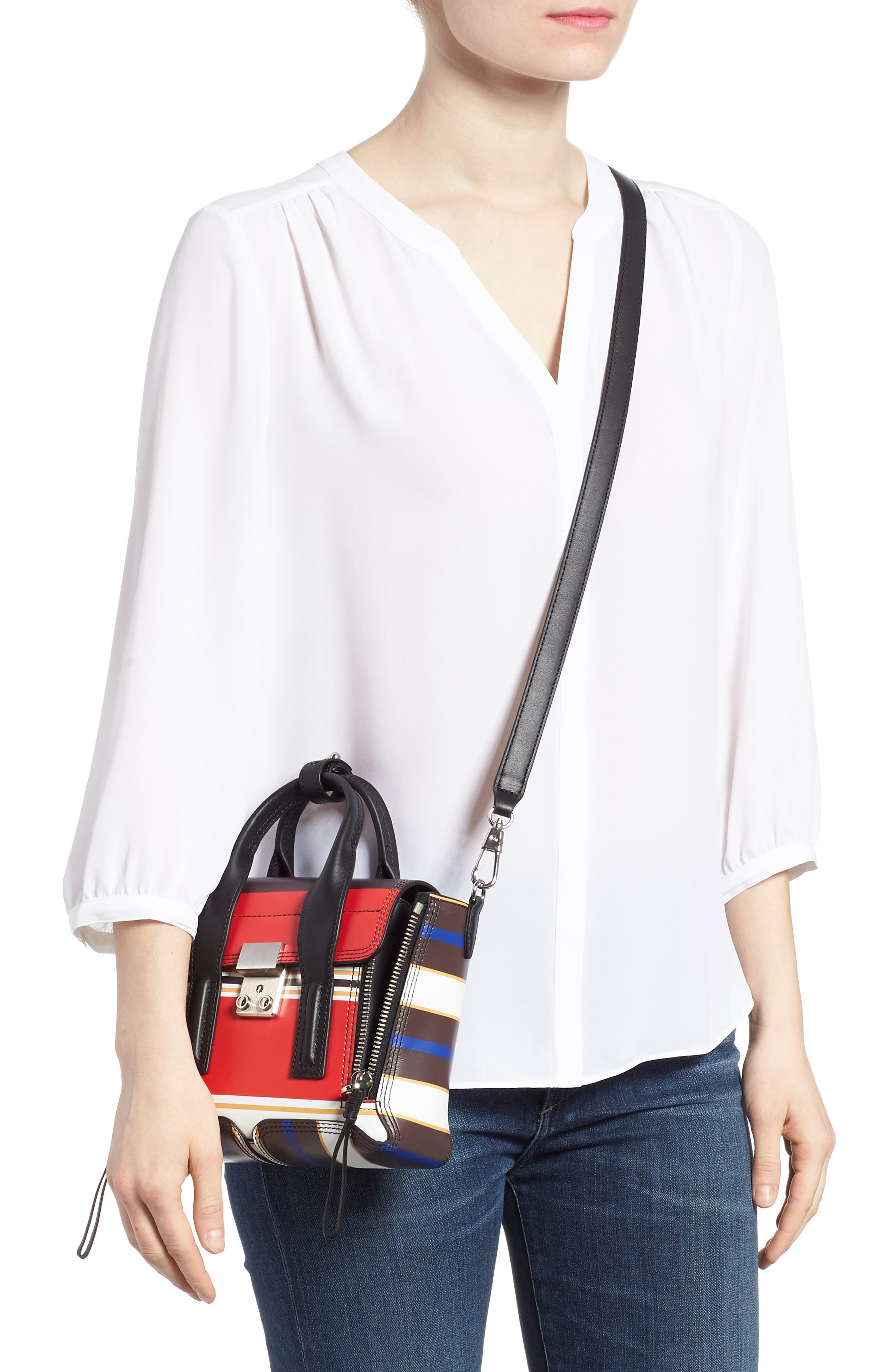 Mini Pashli Stripe Leather Satchel,                             Alternate thumbnail 2, color,                             Red Multi