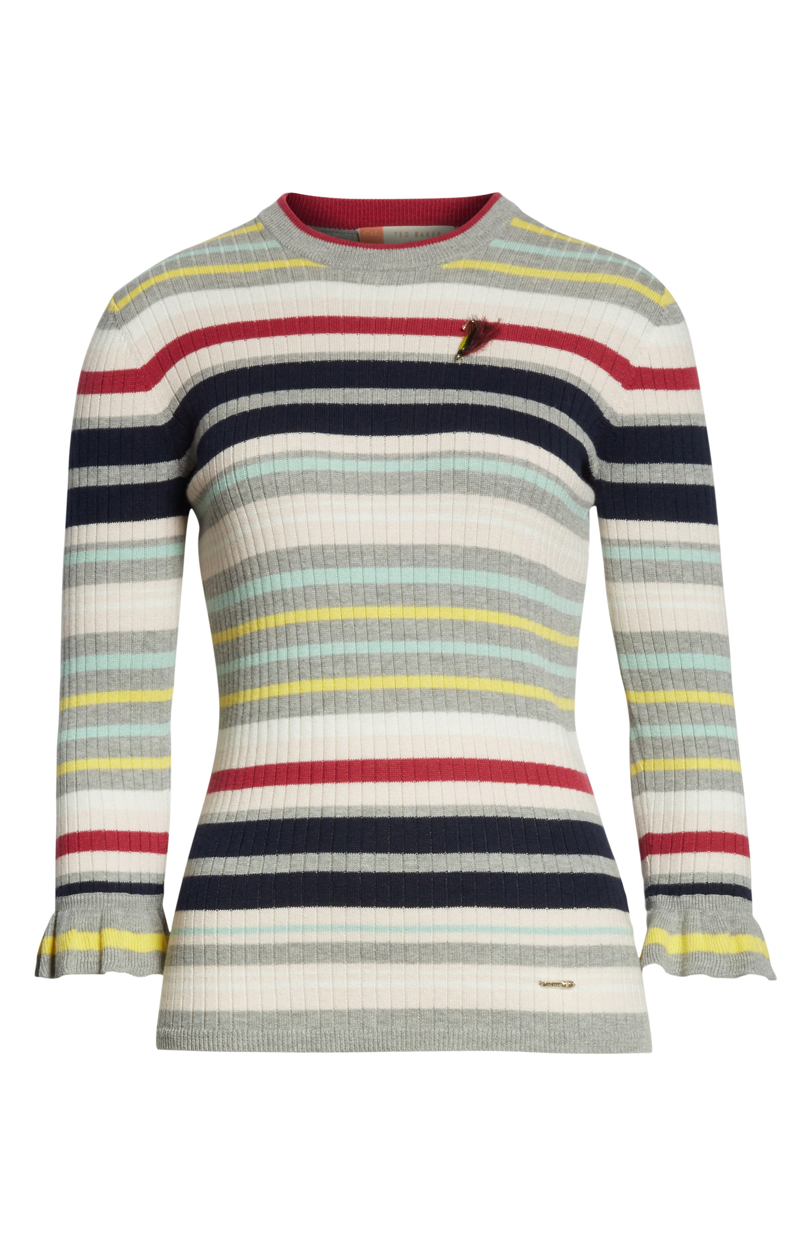 Colour by Numbers Stripe Top,                             Alternate thumbnail 6, color,                             Grey