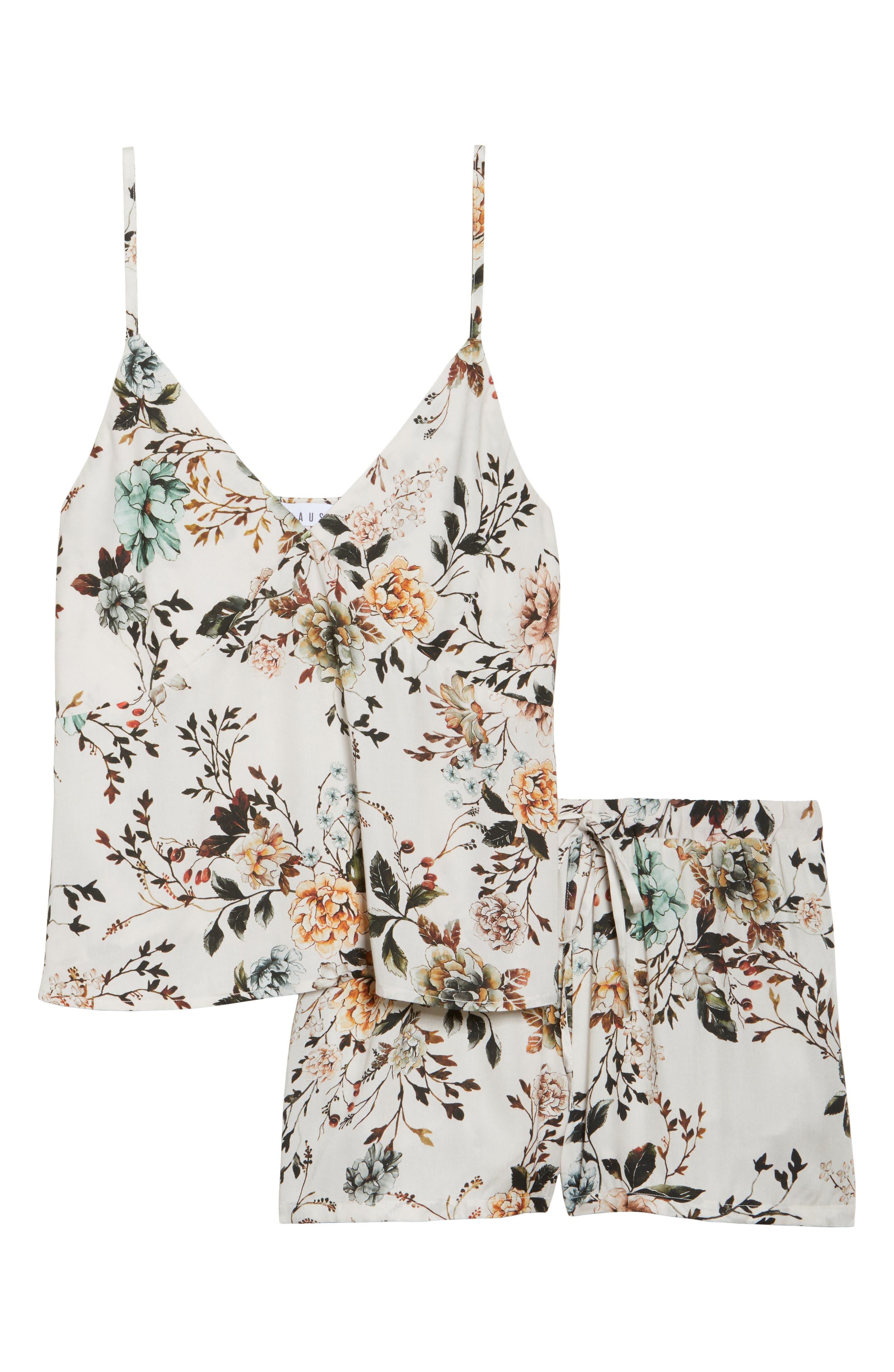 Floral Poppy Short & Camisole Pajamas,                             Alternate thumbnail 4, color,                             Cream Dusk