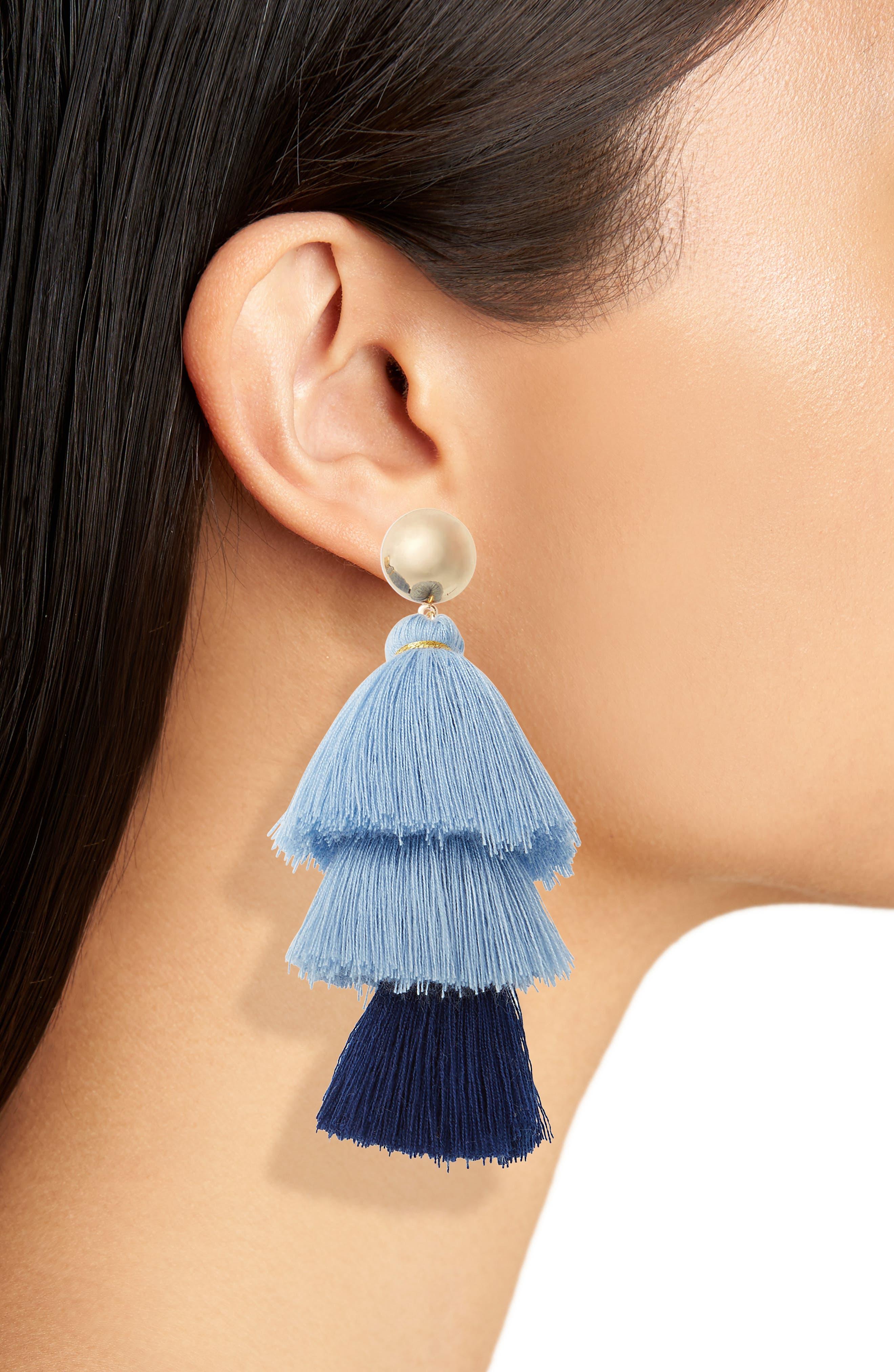 Multi Layer Tassel Earrings,                             Alternate thumbnail 2, color,                             Blue Multi