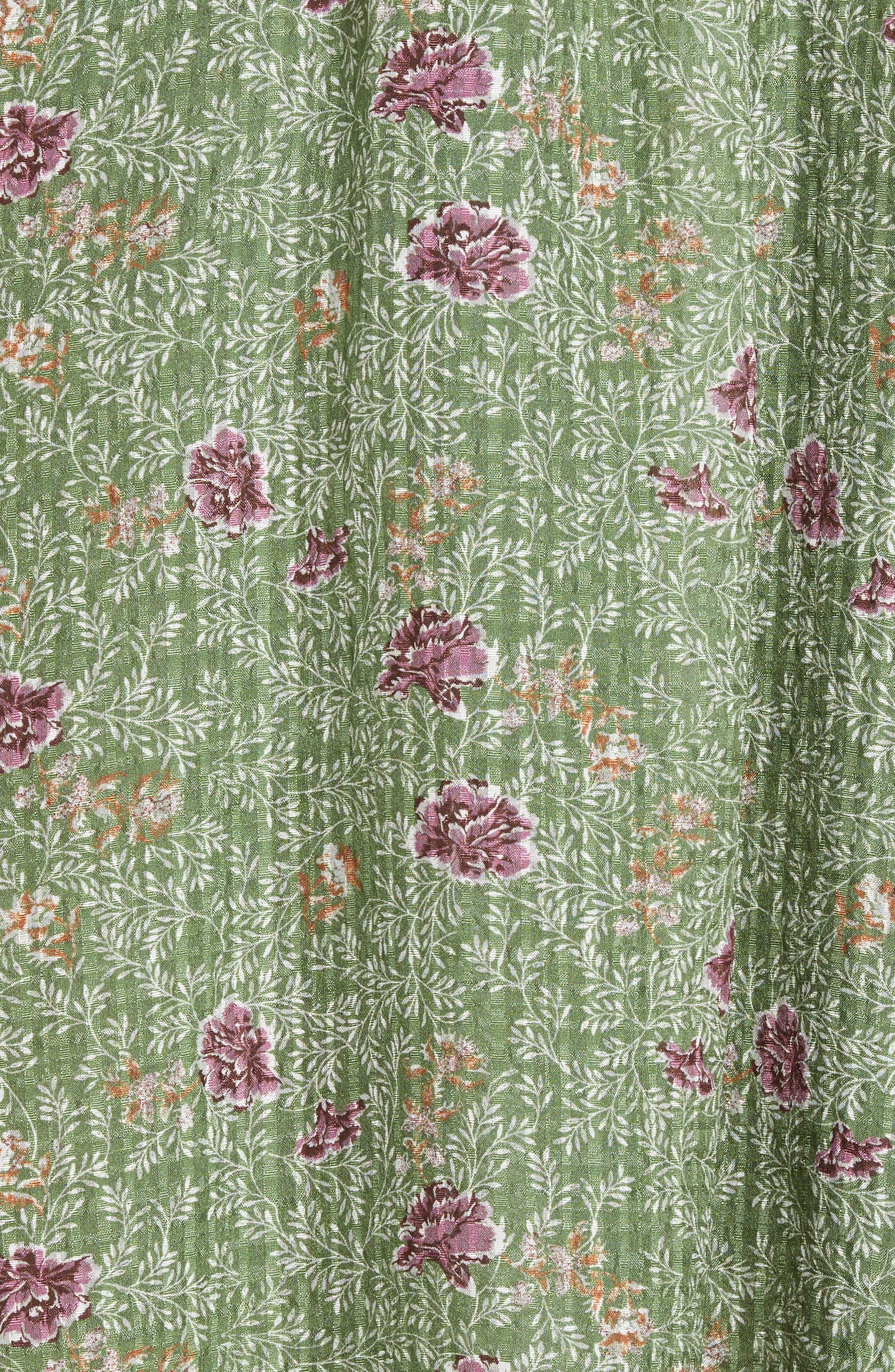 Handkerchief Hem Silk Dress,                             Alternate thumbnail 5, color,                             Green Vineyard Jakarta Floral