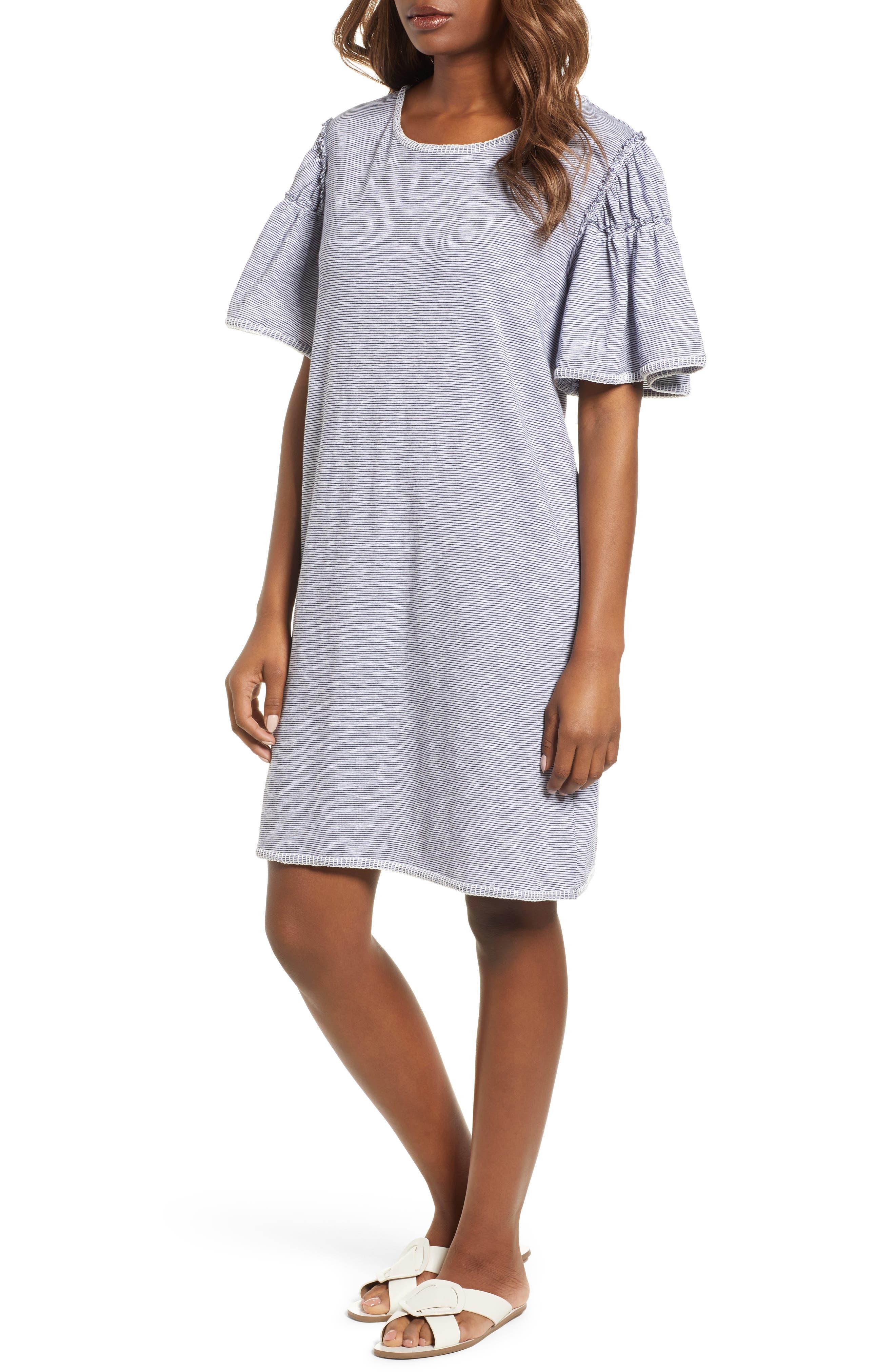 Flounce Sleeve Knit Dress,                         Main,                         color, White- Navy Nicole Stripe