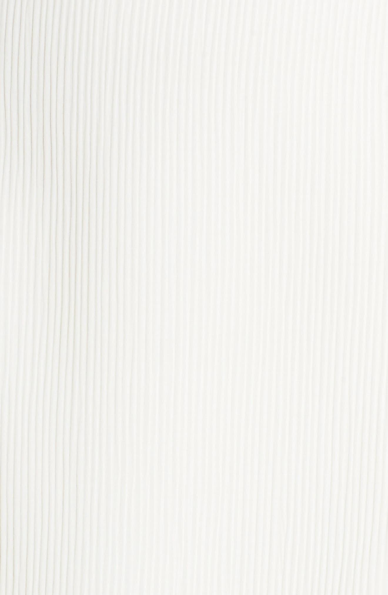Micro Pleat Tulip Hem Dress,                             Alternate thumbnail 6, color,                             White Snow