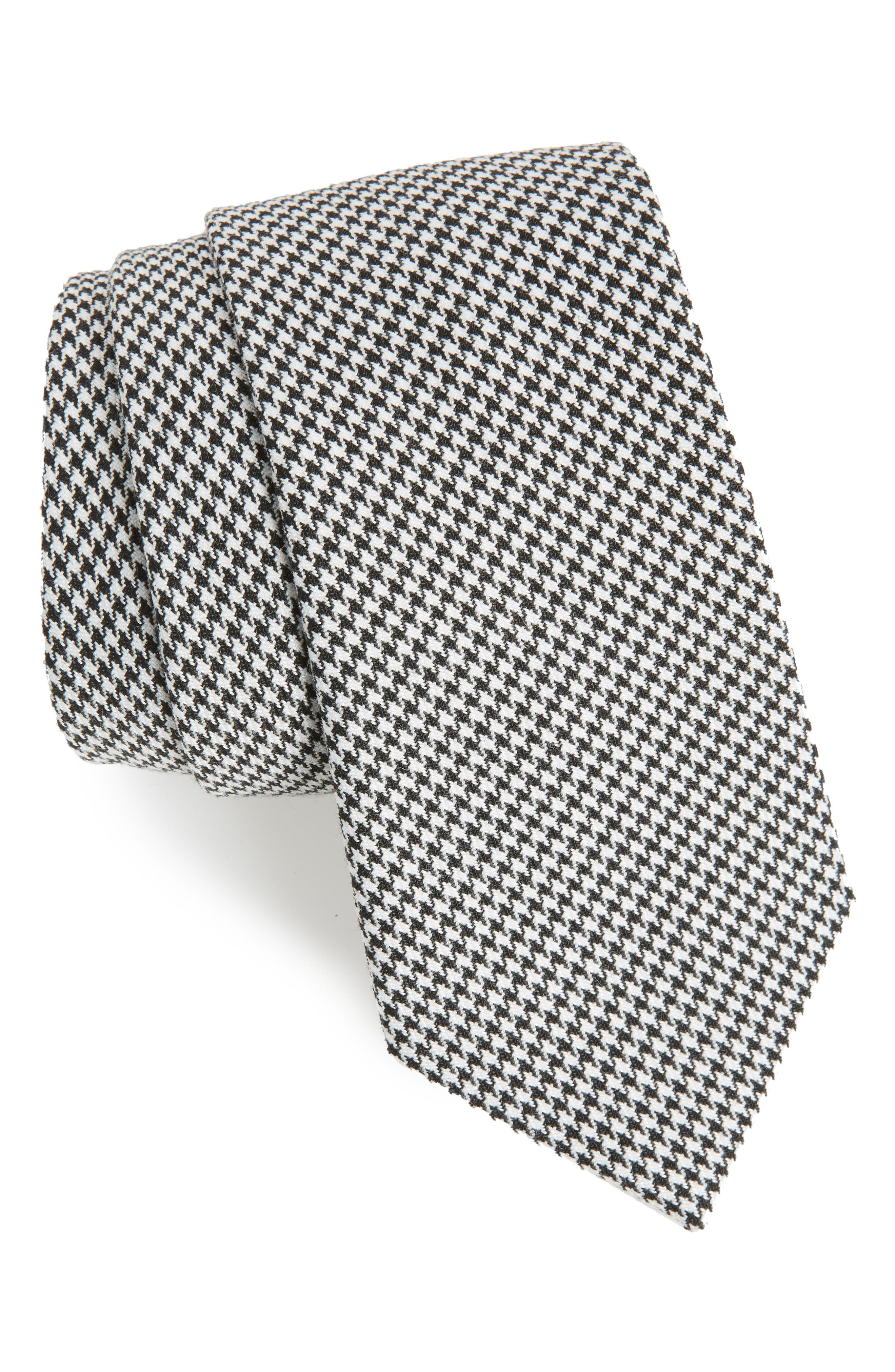 Houndstooth Woven Tie,                             Main thumbnail 1, color,                             Black