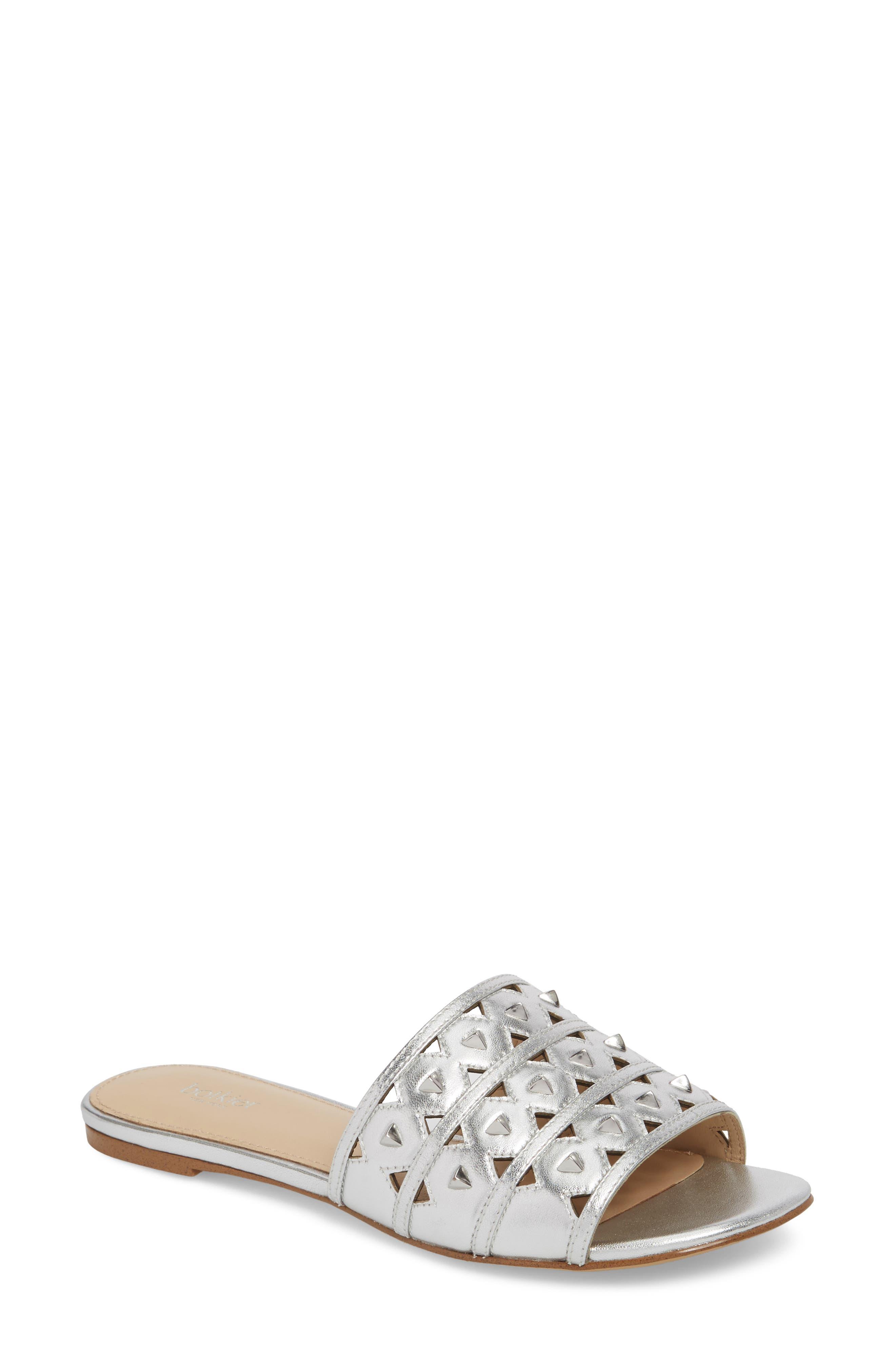 Maeva Slide Sandal,                         Main,                         color, Argento Leather