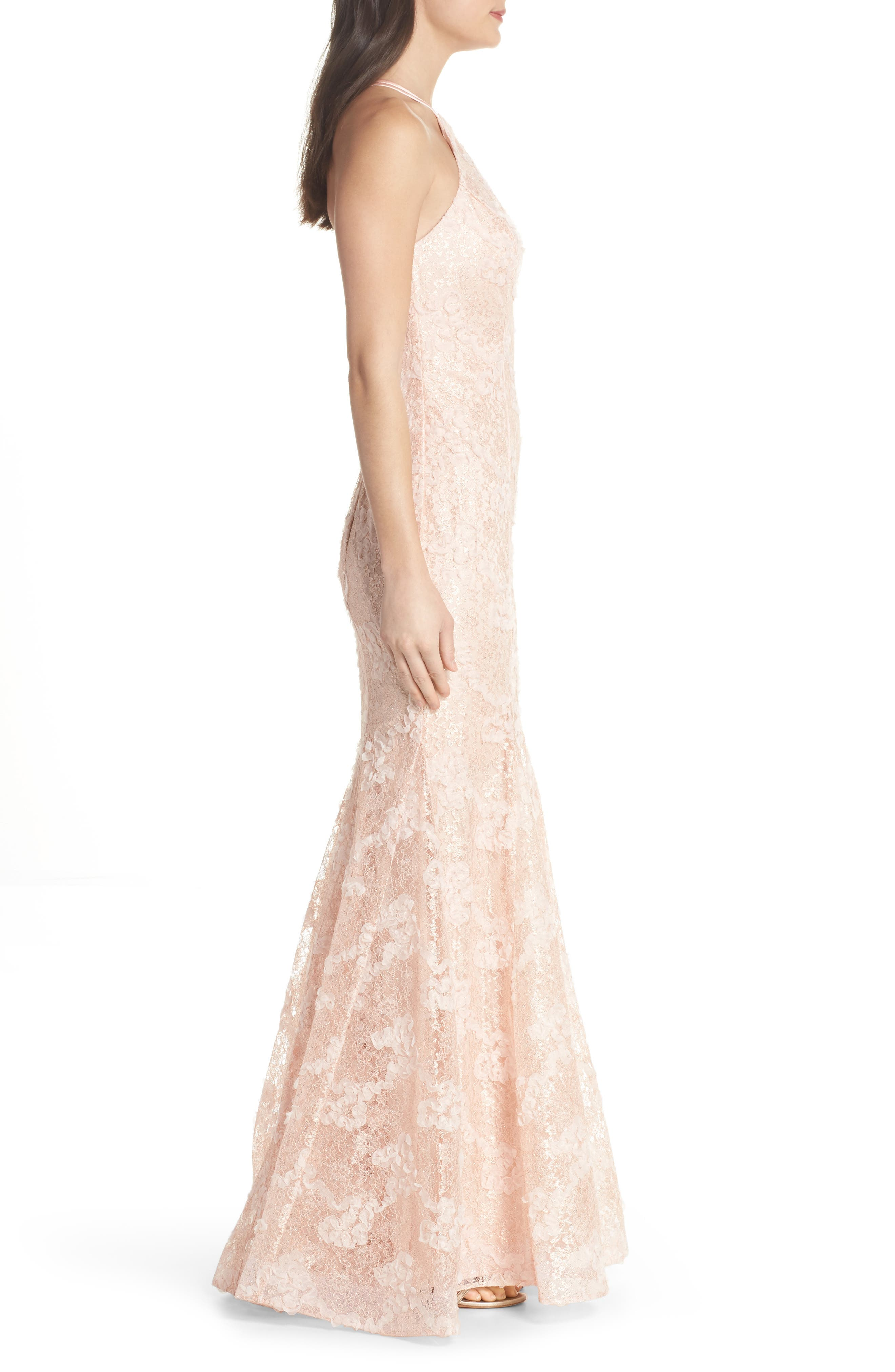 Ruched Lace Halter Mermaid Gown,                             Alternate thumbnail 3, color,                             Blush