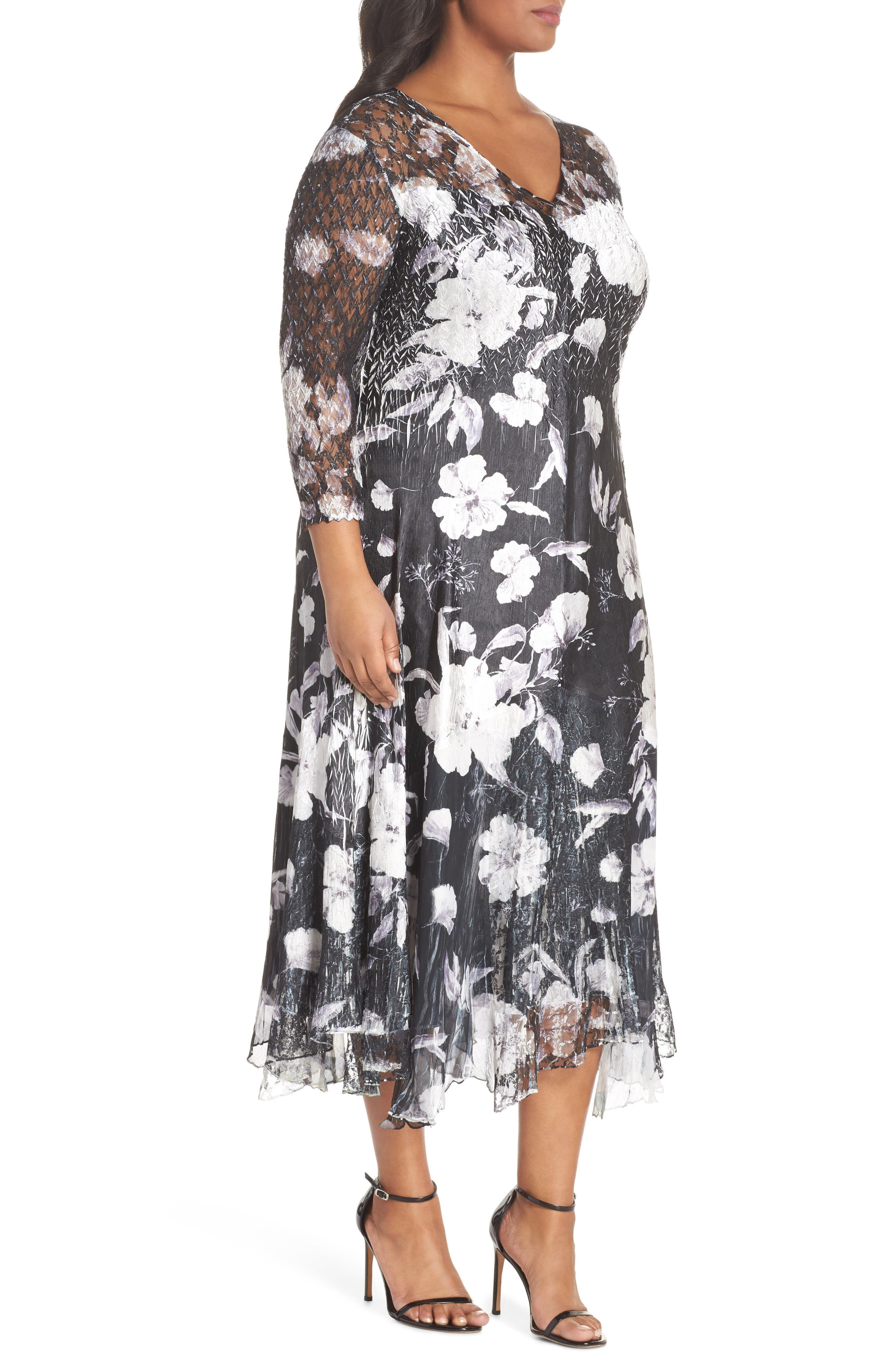 Charmeuse A-Line Dress,                             Alternate thumbnail 3, color,                             Floral Night
