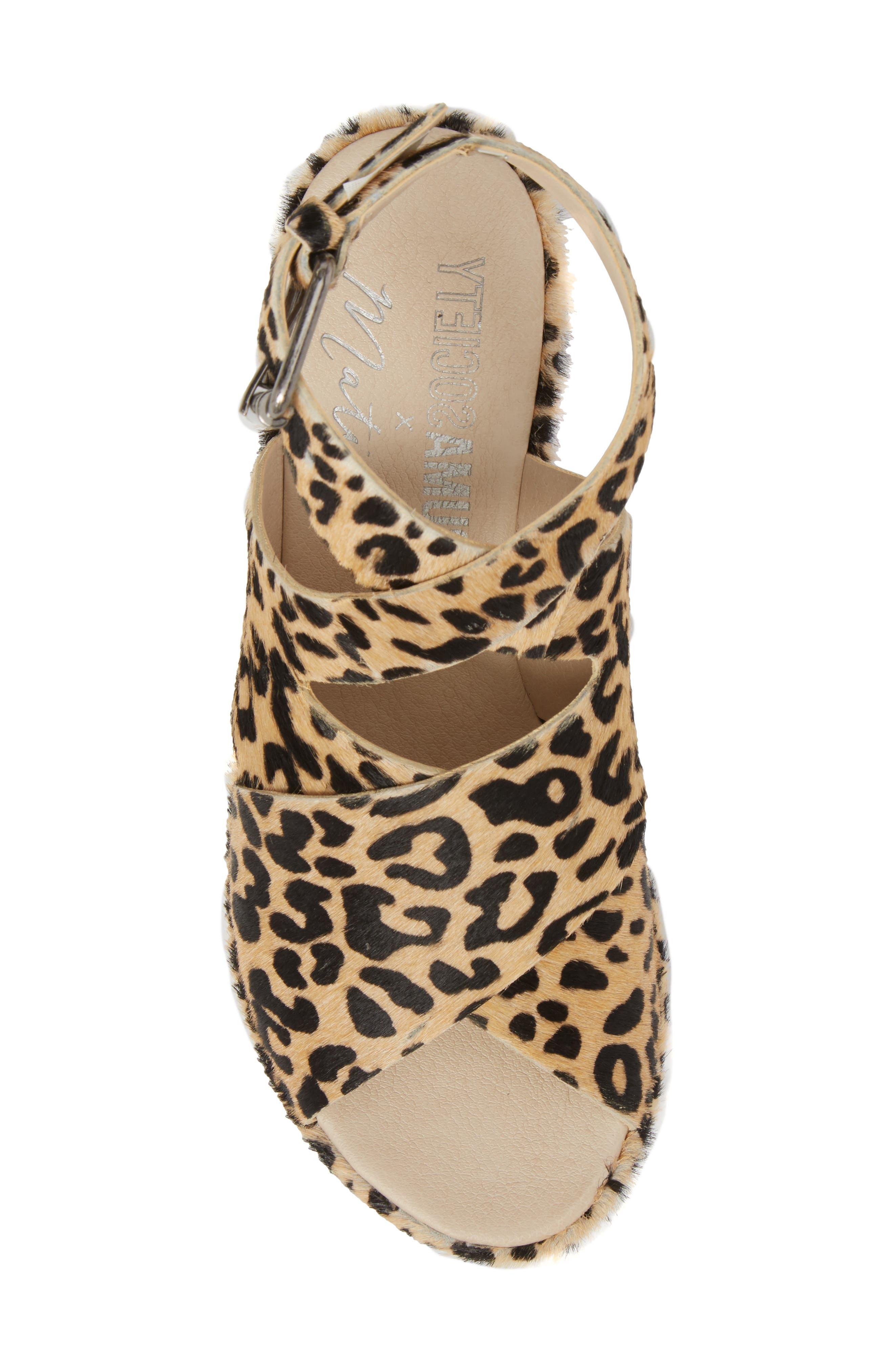 Runway Wedge Sandal,                             Alternate thumbnail 5, color,                             Leopard Calf Hair