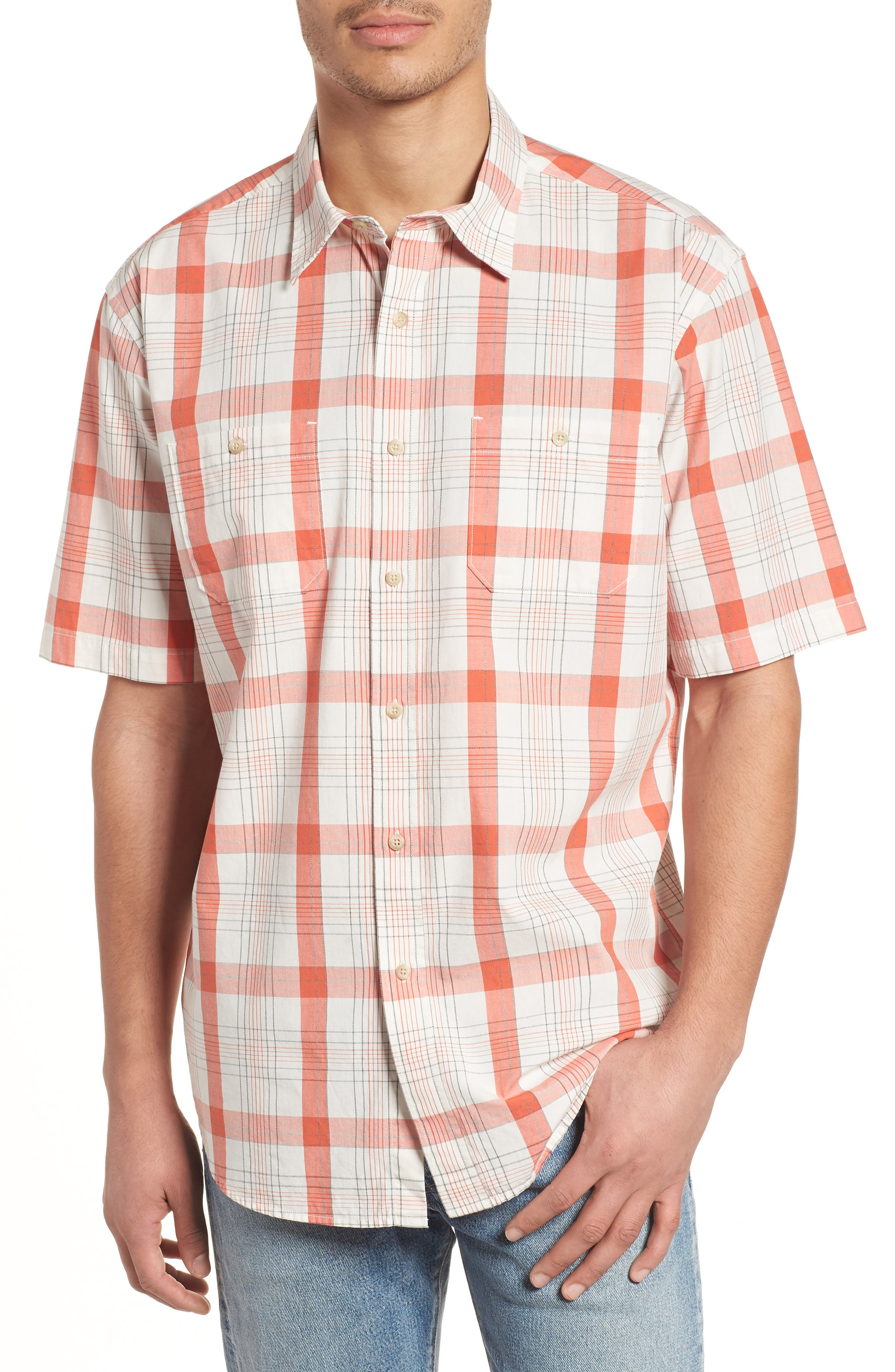 Clear Lake Short Sleeve Woven Shirt,                         Main,                         color, Coral Plaid